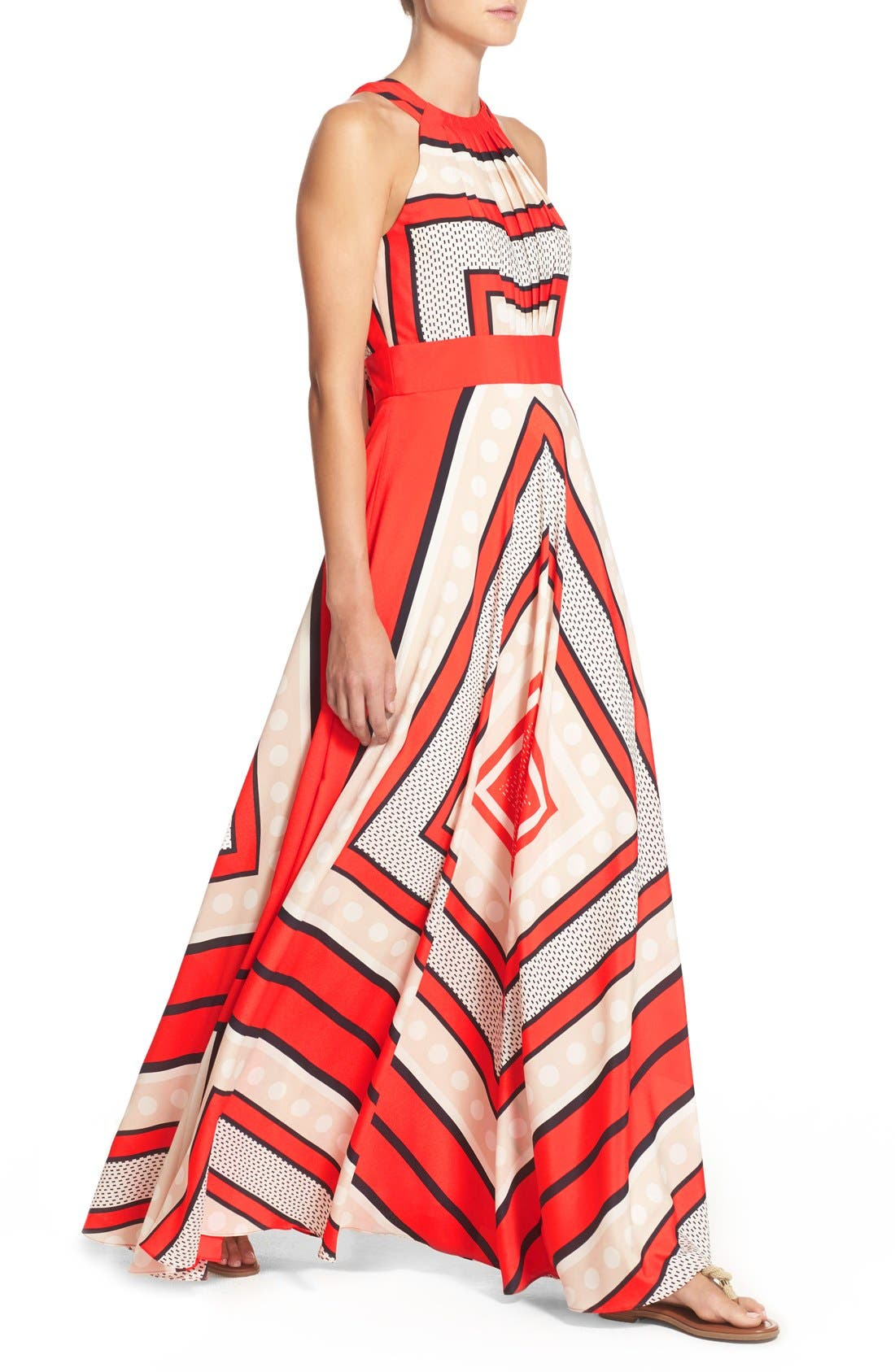 Alternate Image 5  - Eliza J Scarf Print Crêpe de Chine Fit & Flare Maxi Dress (Regular & Petite)