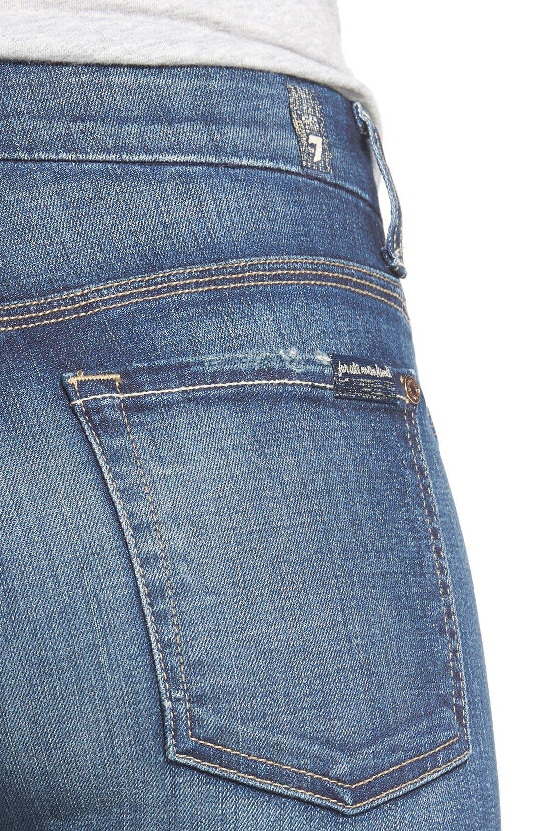 Alternate Image 4  - 7 For All Mankind® Crop Straight Leg Jeans (Icelandic Blue)