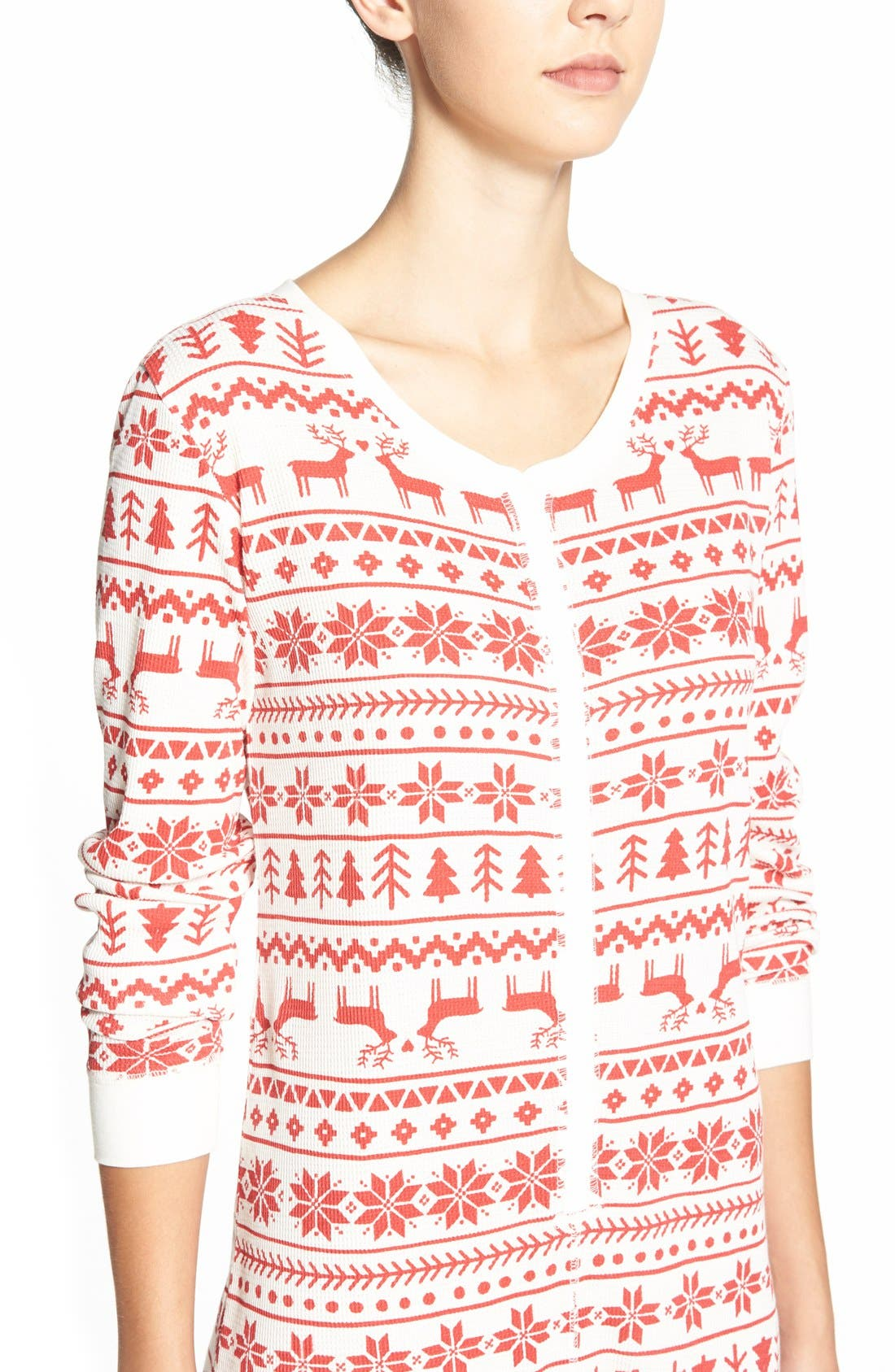 Holiday Thermal One-Piece Pajamas,                             Alternate thumbnail 4, color,                             Red Beauty Fairisle Sketch