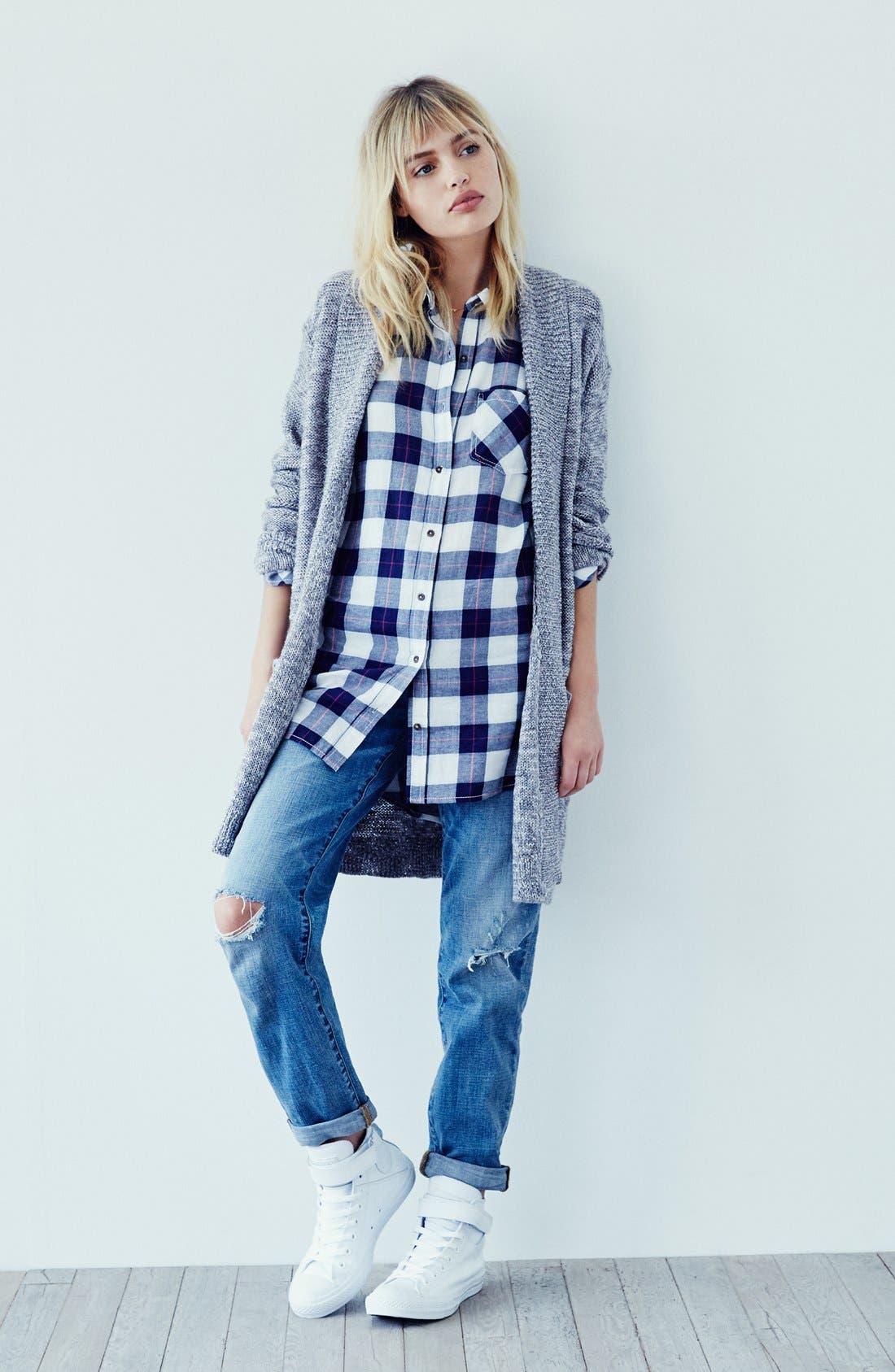 Alternate Image 4  - BP. Girlfriend Jeans (Mystic Blue Distressed)