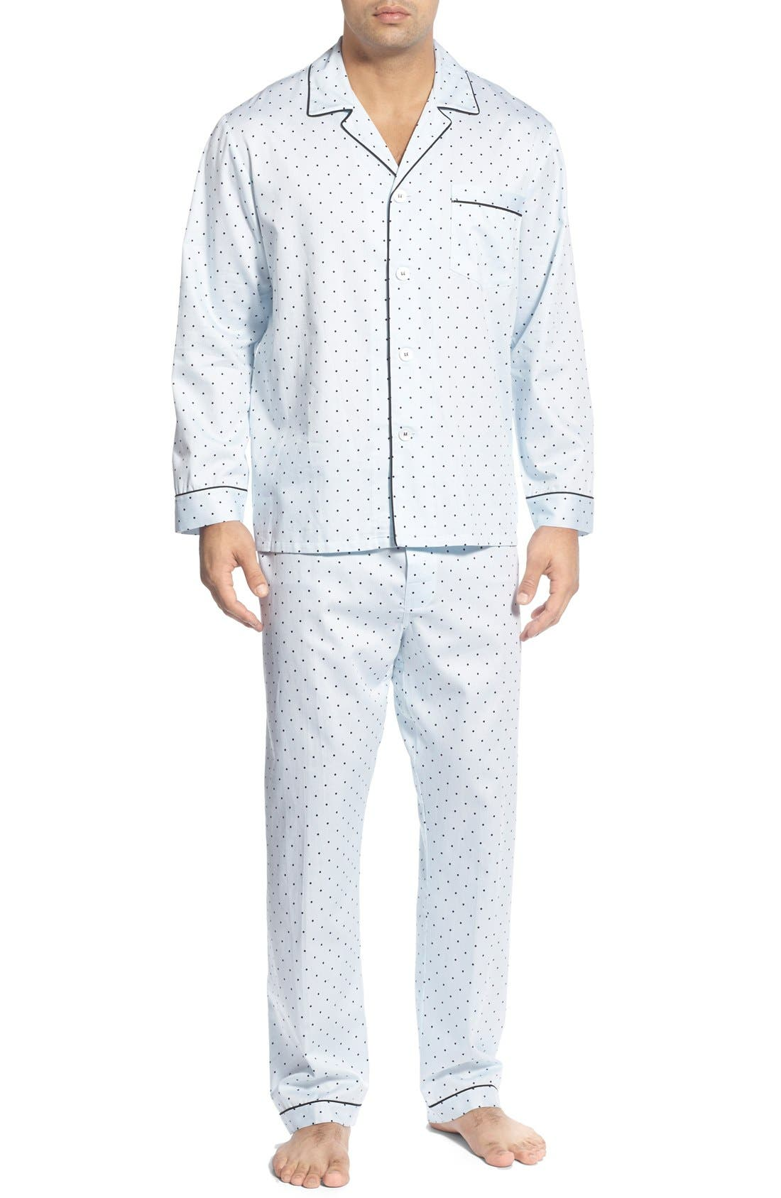 'Twilight' Cotton Pajamas,                             Main thumbnail 1, color,                             Navy Dots