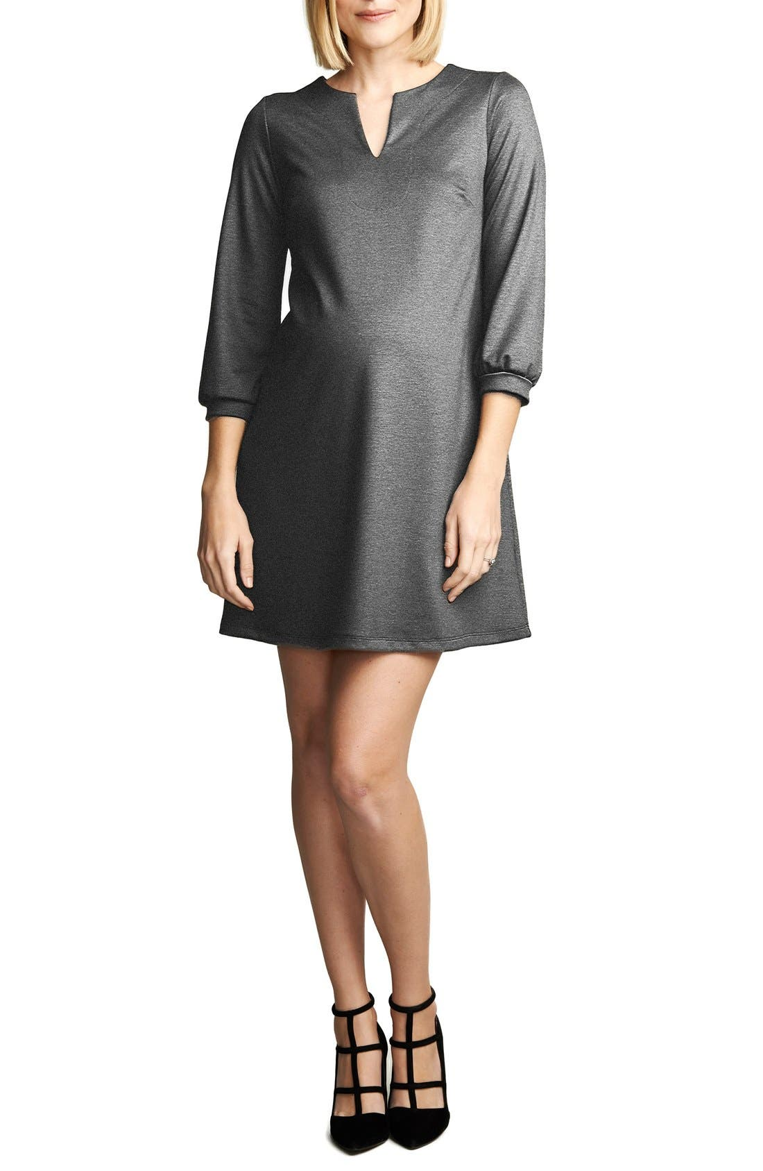 Shift Maternity Dress,                             Main thumbnail 1, color,                             Heather Charcoal