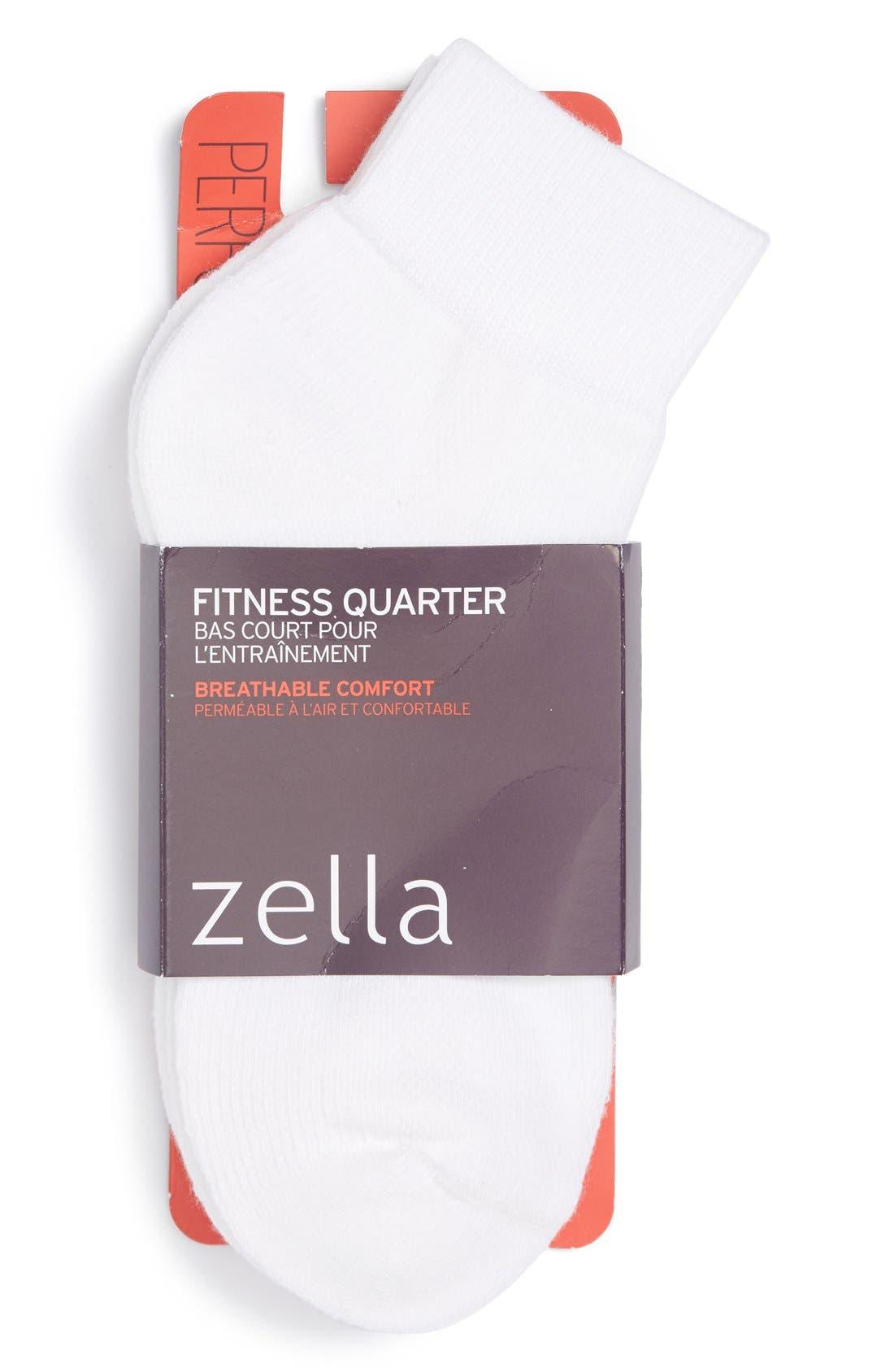 Alternate Image 1 Selected - Zella Quarter Socks (3-Pack)