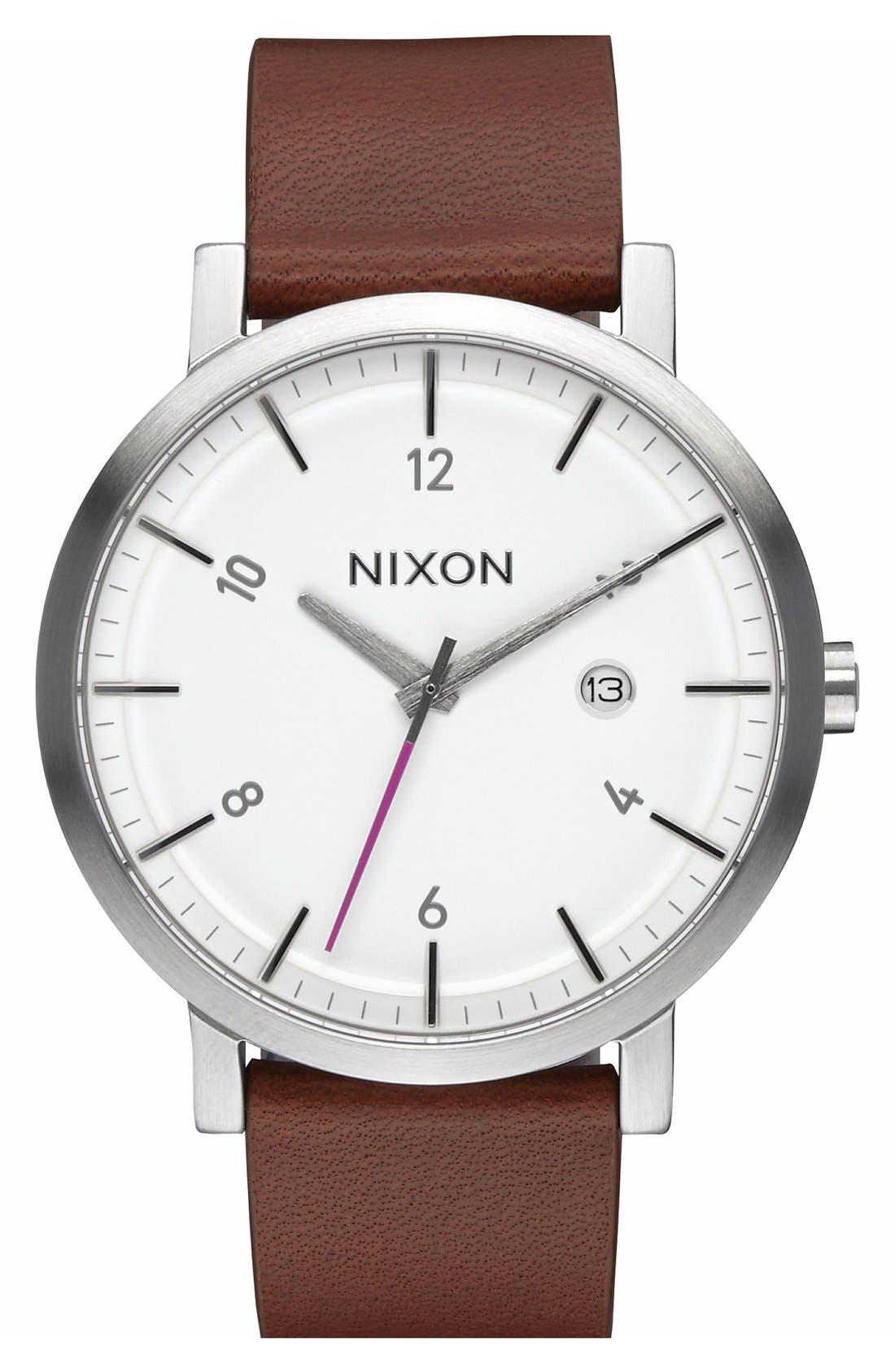 NIXON 'Rollo' Leather Strap Watch, 42Mm in Chestnut/ White