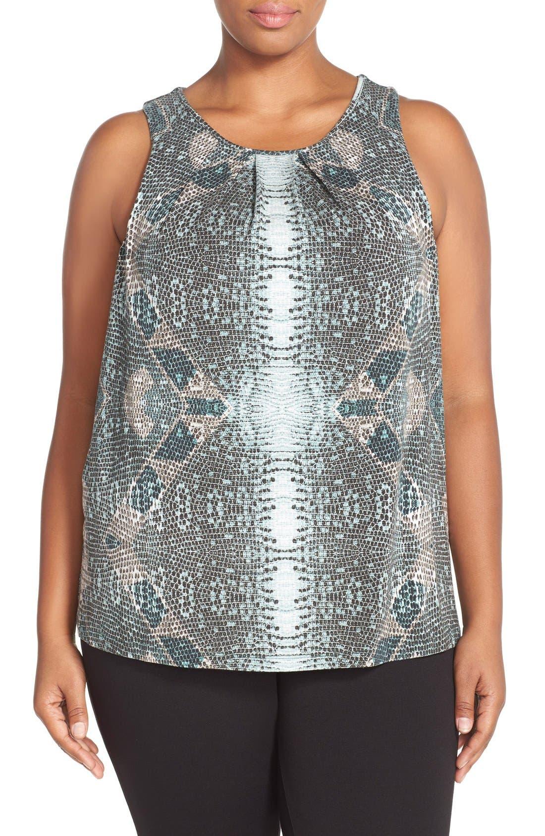 Alternate Image 1 Selected - Tart 'Jewell' Pleat Neck Print Top (Plus Size)