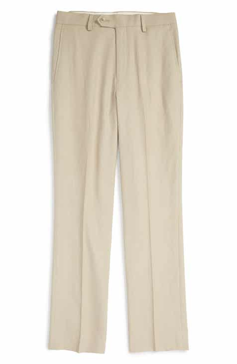 97da116fa Michael Kors 'Kirton' Flat Front Linen Blend Trousers (Big Boys)