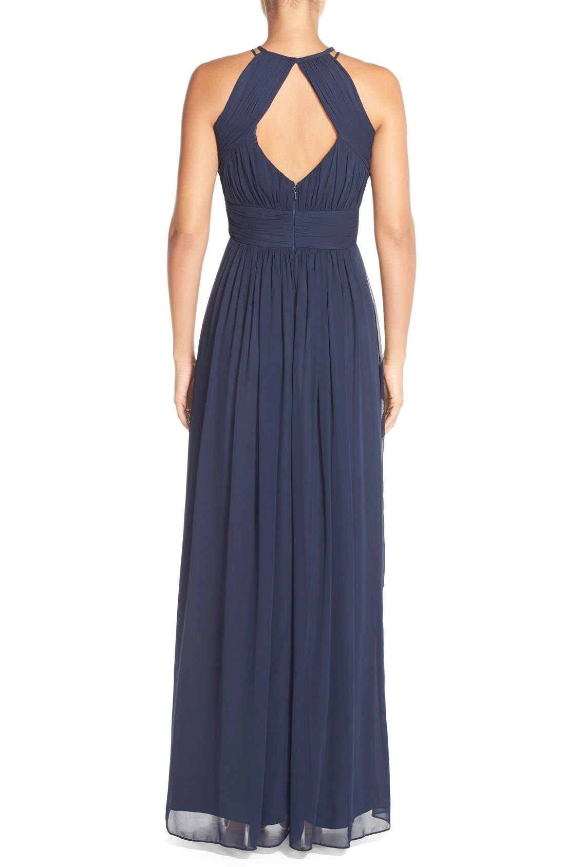 Alternate Image 2  - Dessy Collection Ruched Chiffon Keyhole Halter Gown