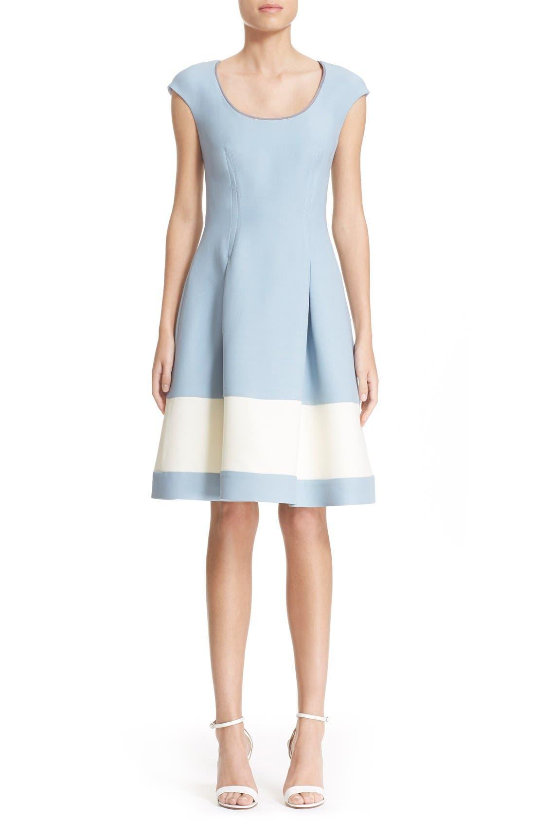 Main Image - Fendi Stripe Wool & Silk Blend Fit & Flare Dress