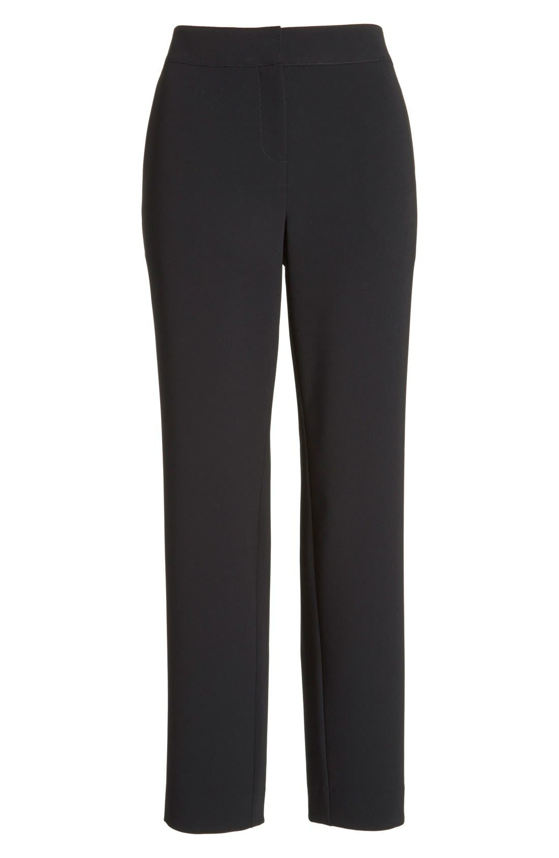 'Emma' Crop Crepe Marocain Pants,                             Alternate thumbnail 4, color,                             Caviar