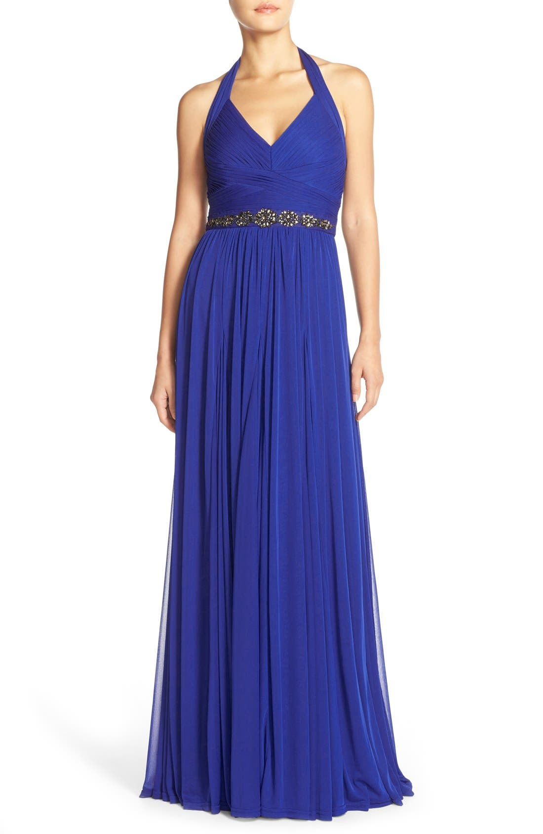 Embellished Tulle Halter Gown,                         Main,                         color, Neptune
