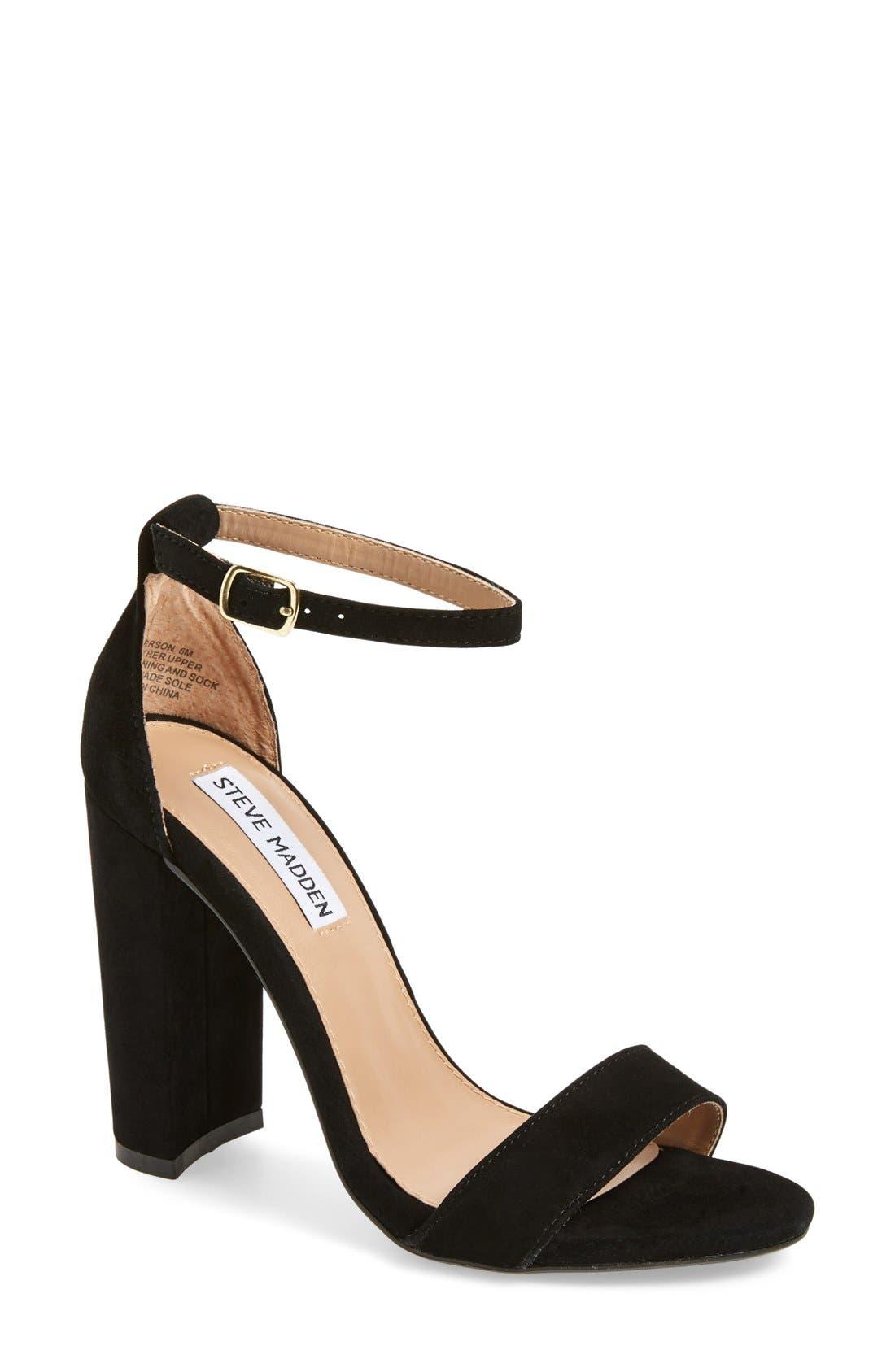 Carrson Sandal,                         Main,                         color, Black Suede