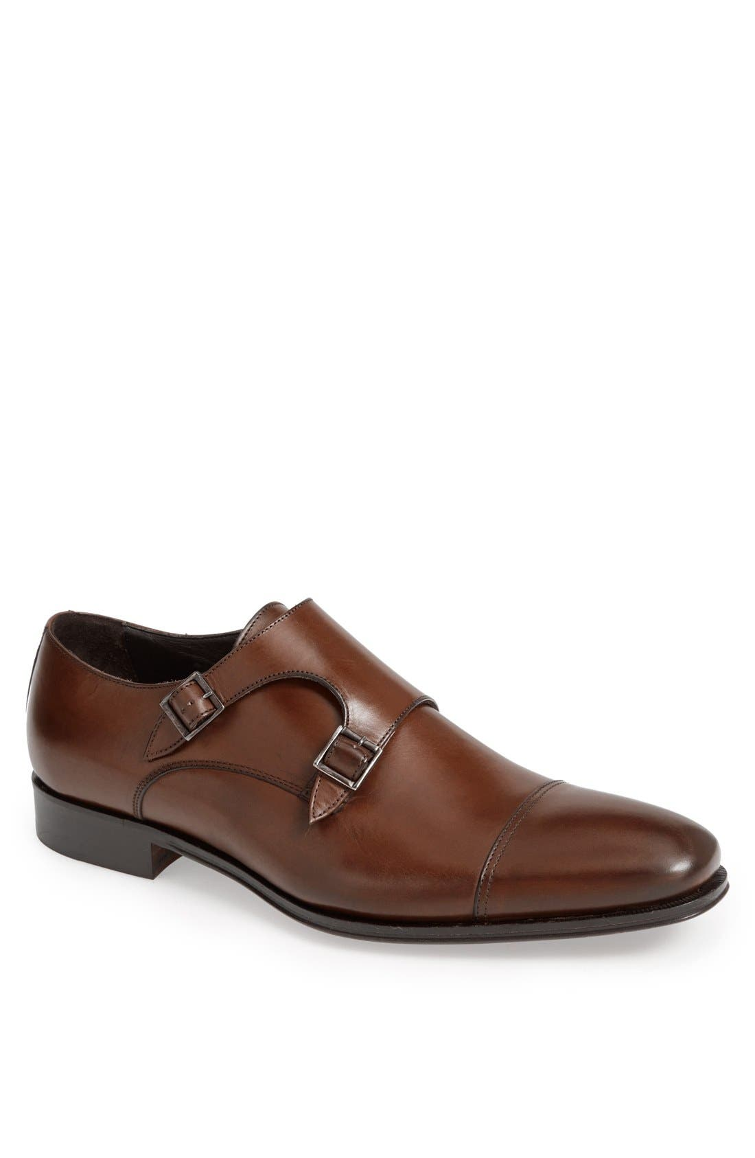 Grant Double-Buckle Monk-Strap Shoes in Alameda Brown