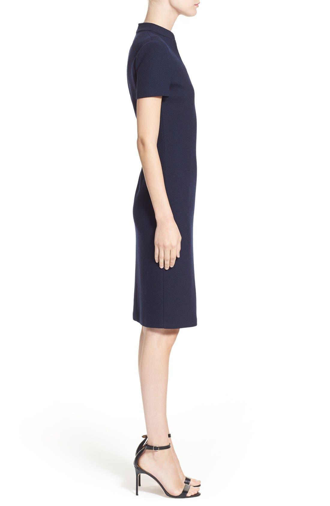Micro Bouclé Sheath Dress,                             Alternate thumbnail 4, color,                             Navy