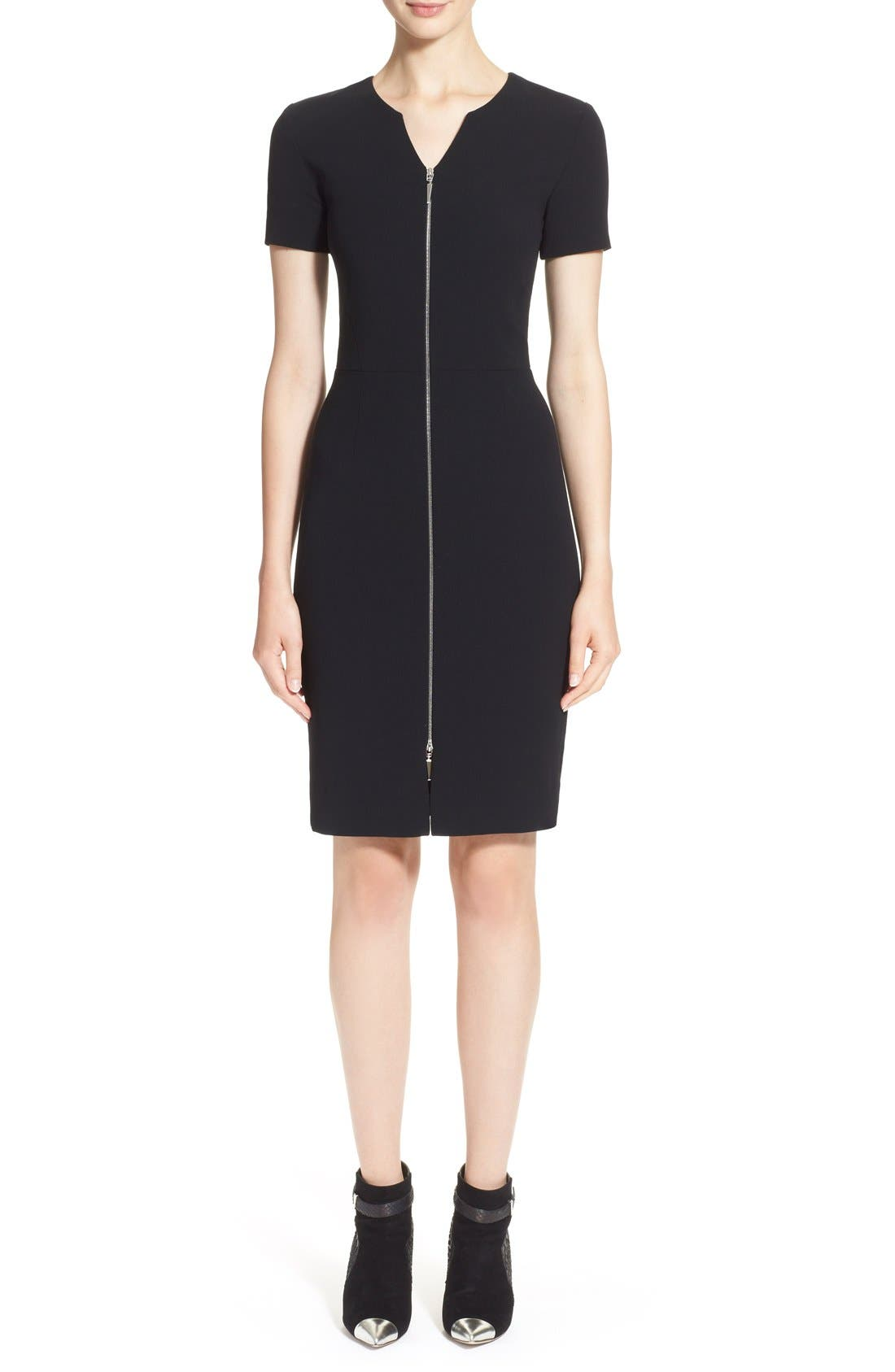 Main Image - Prabal Gurung Zip Front Stretch Wool Sheath Dress