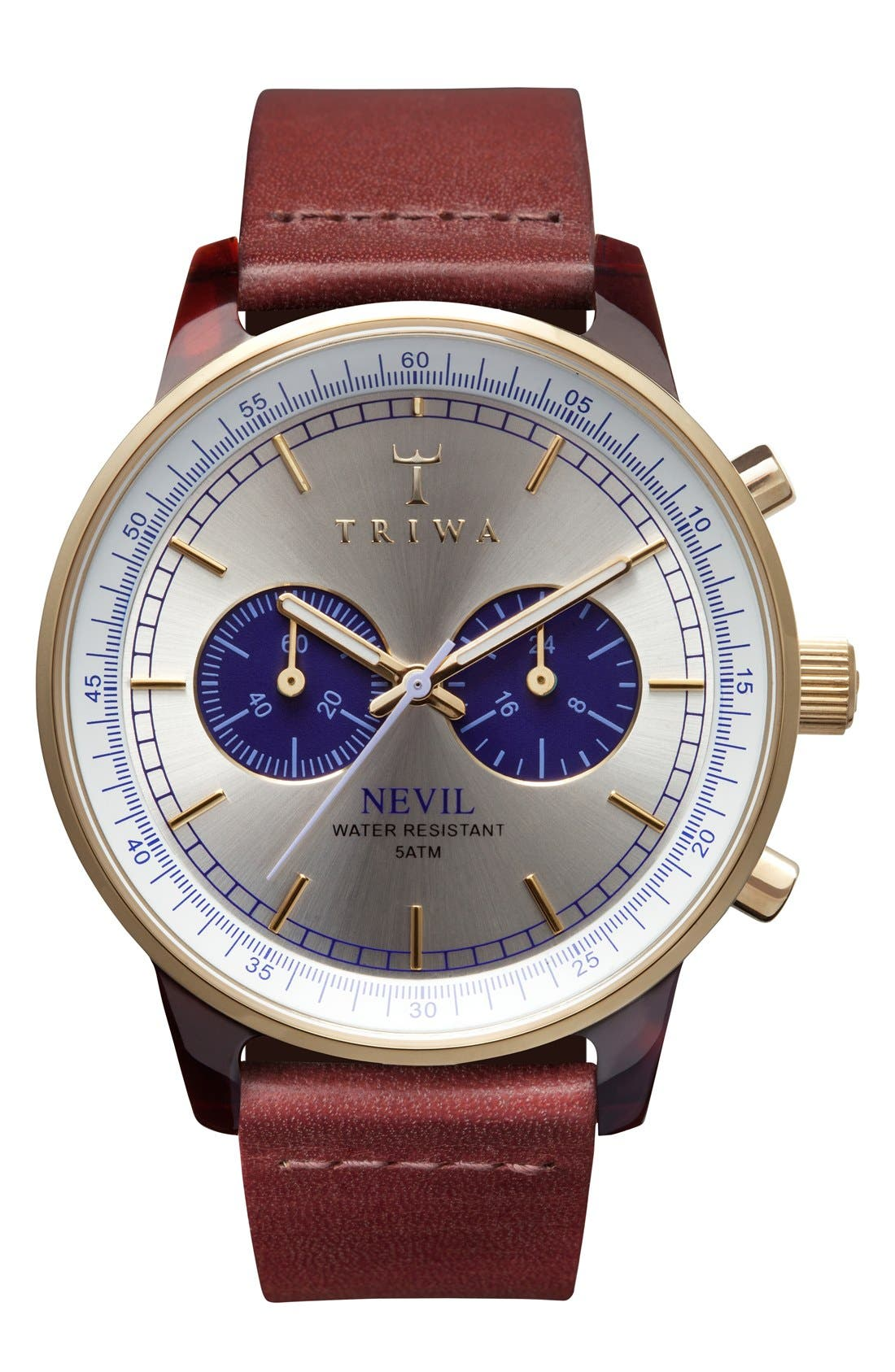 TRIWA Blue Nevil Chronograph Leather Strap Watch, 38Mm in Cognac/ Silver