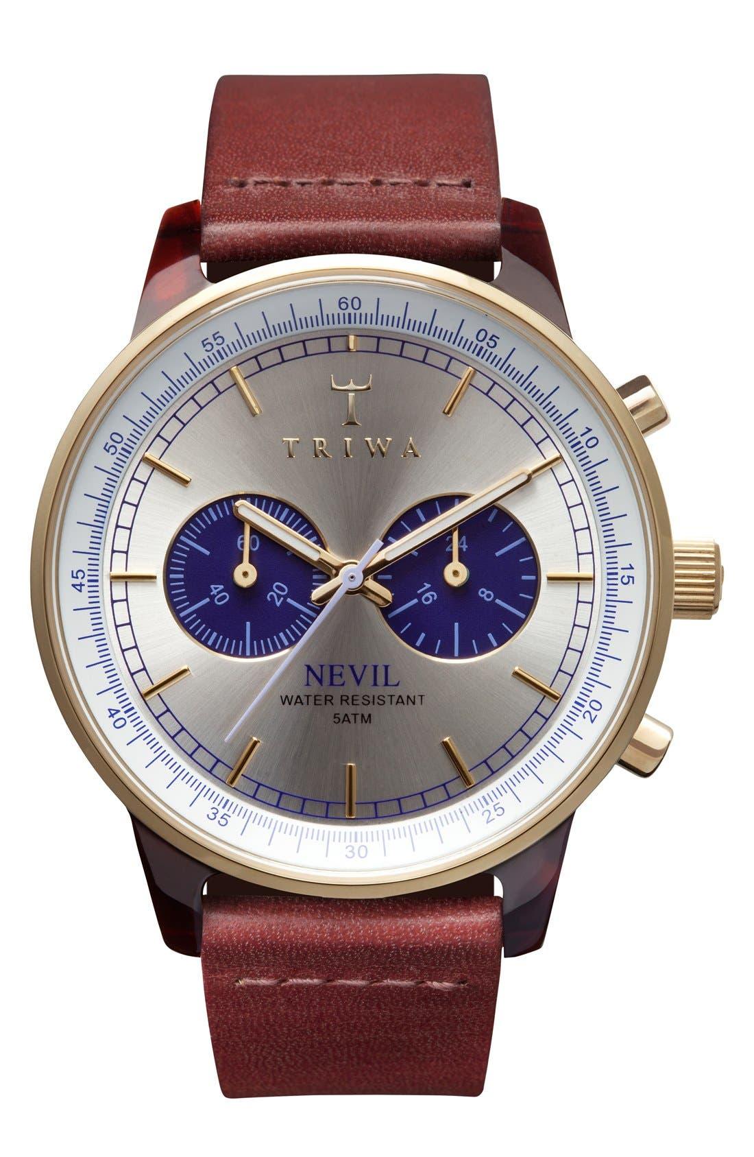 TRIWA Blue Nevil Chronograph Leather Strap Watch, 38mm
