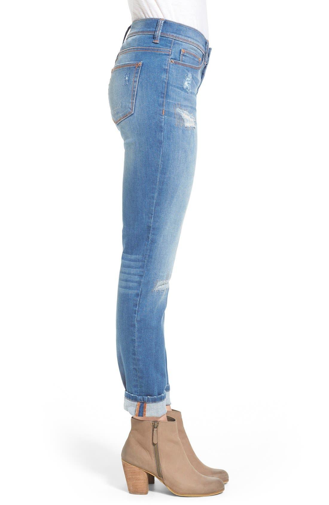 Alternate Image 3  - SP Black Rip & Repair Skinny Jeans (Light Wash)