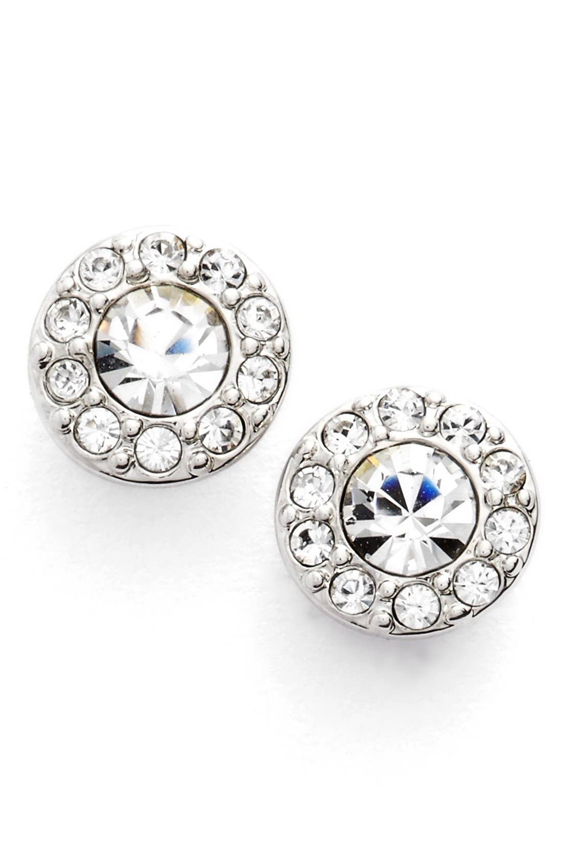 Small Crystal Stud Earrings,                         Main,                         color, Silver