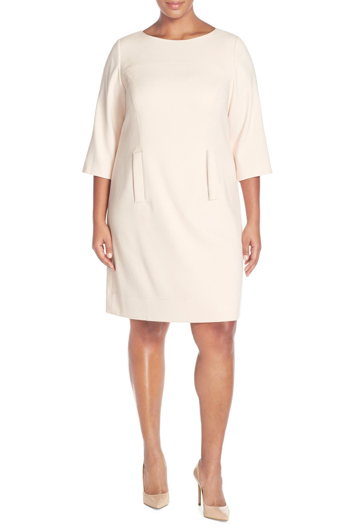 Eliza J Pocket Detail Shift Dress (Plus Size)
