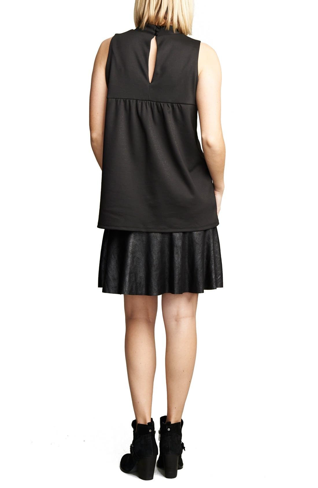 'Lucy' Maternity Dress,                             Alternate thumbnail 2, color,                             Black/Vegan Suede
