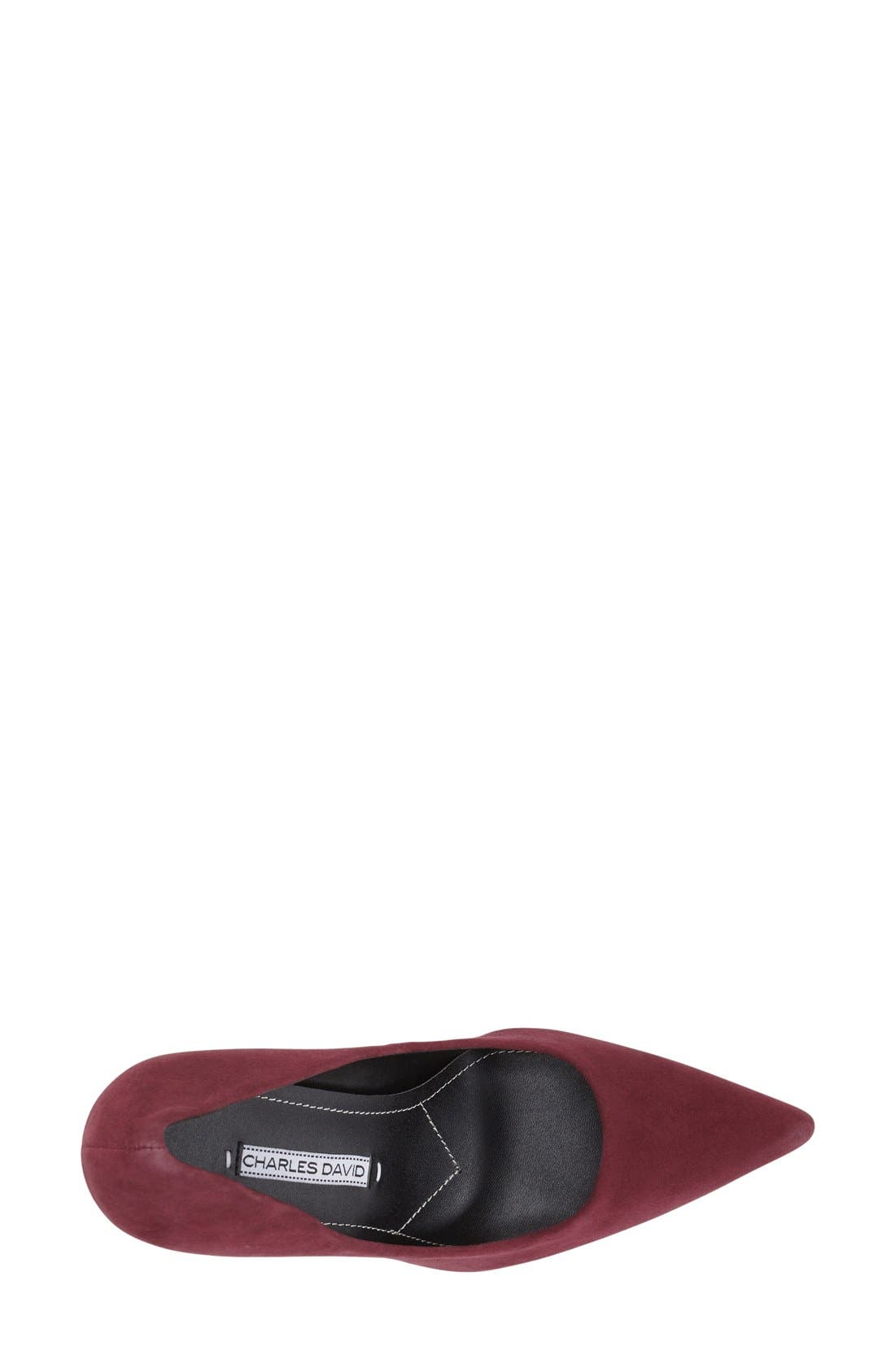 Charles David 'Sway II' Patent Leather Pump,                             Alternate thumbnail 3, color,                             Burgundy Suede