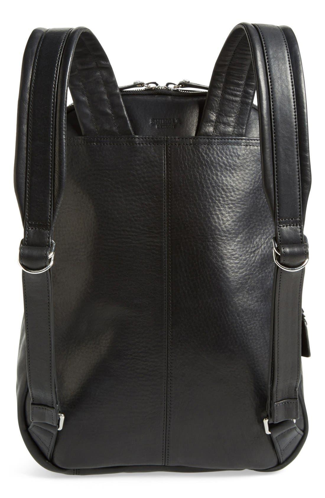 Runwell Leather Laptop Backpack,                             Alternate thumbnail 3, color,                             Black