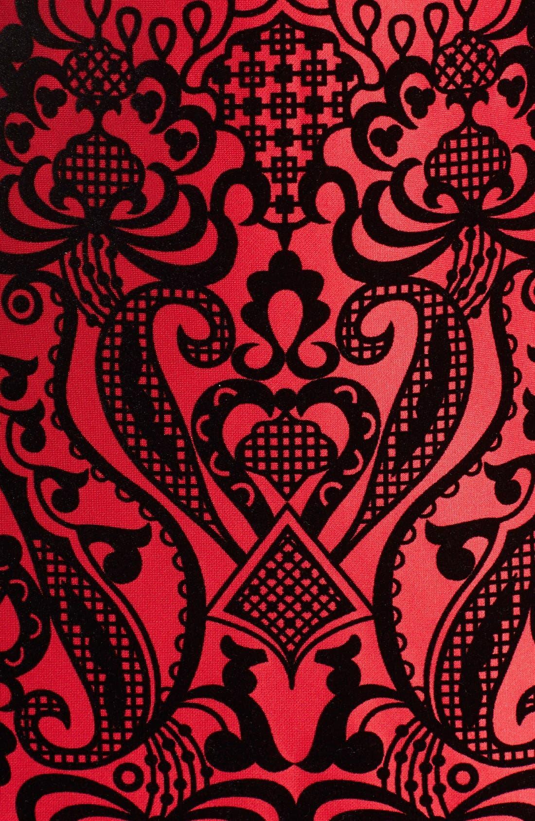 Flecked Scuba Sheath Dress,                             Alternate thumbnail 5, color,                             Black/ Red
