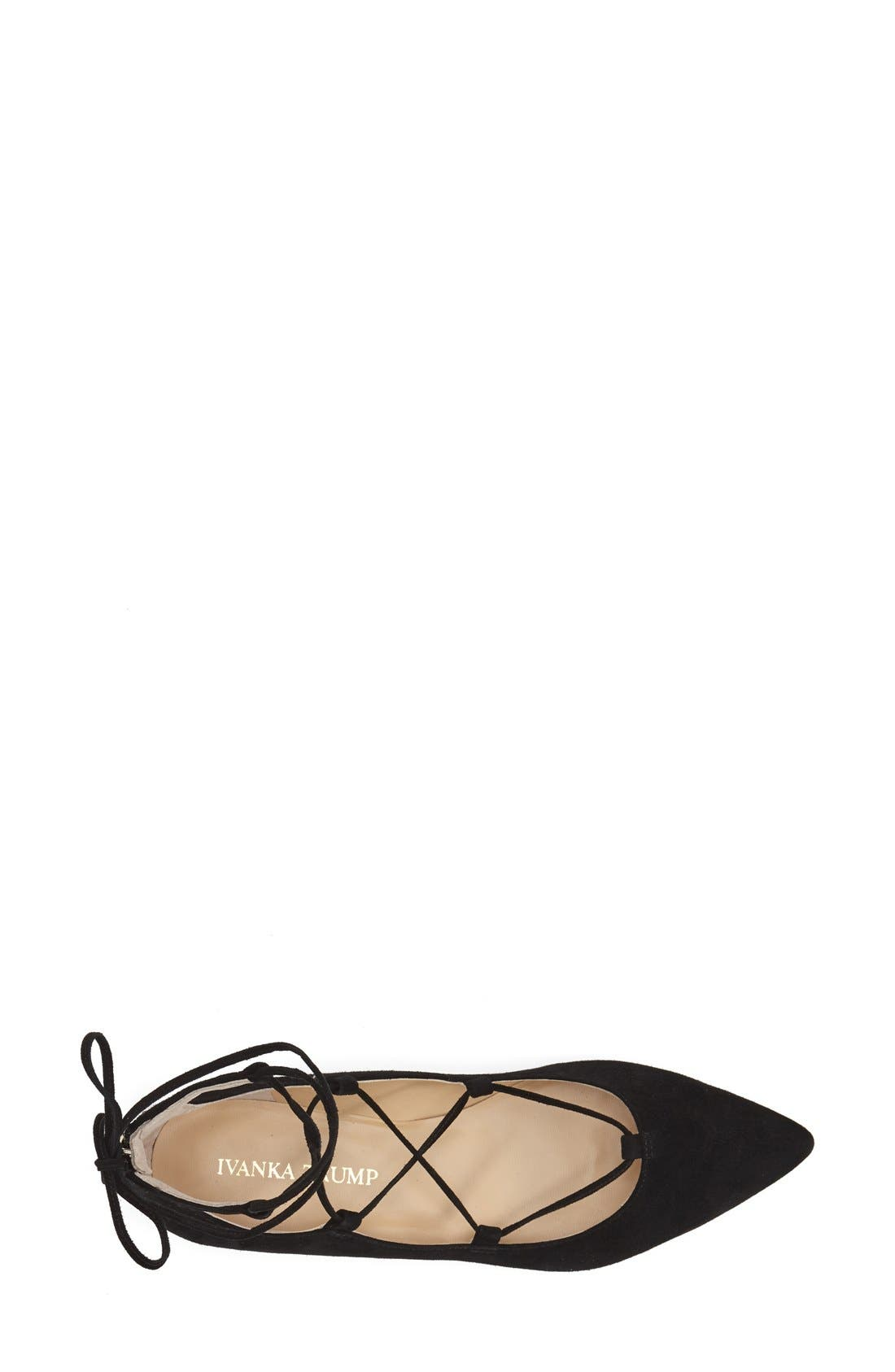 'Tropica' Pointy Toe Ghillie Flat,                             Alternate thumbnail 3, color,                             Black Suede