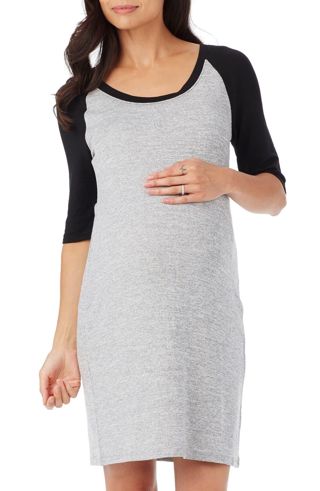 'Derek' Raglan Sleeve Maternity Dress,                         Main,                         color, Heather Grey/ Black Combo