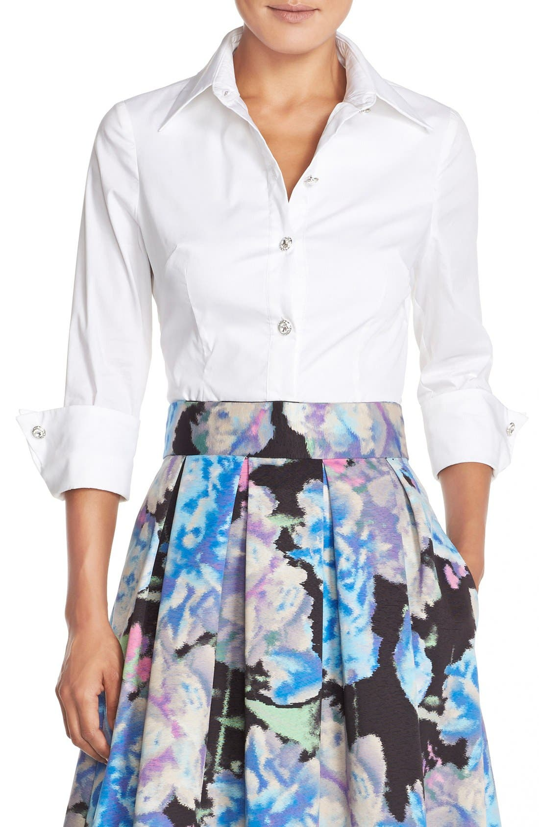 Alternate Image 1 Selected - Eliza J Cotton Poplin Blouse
