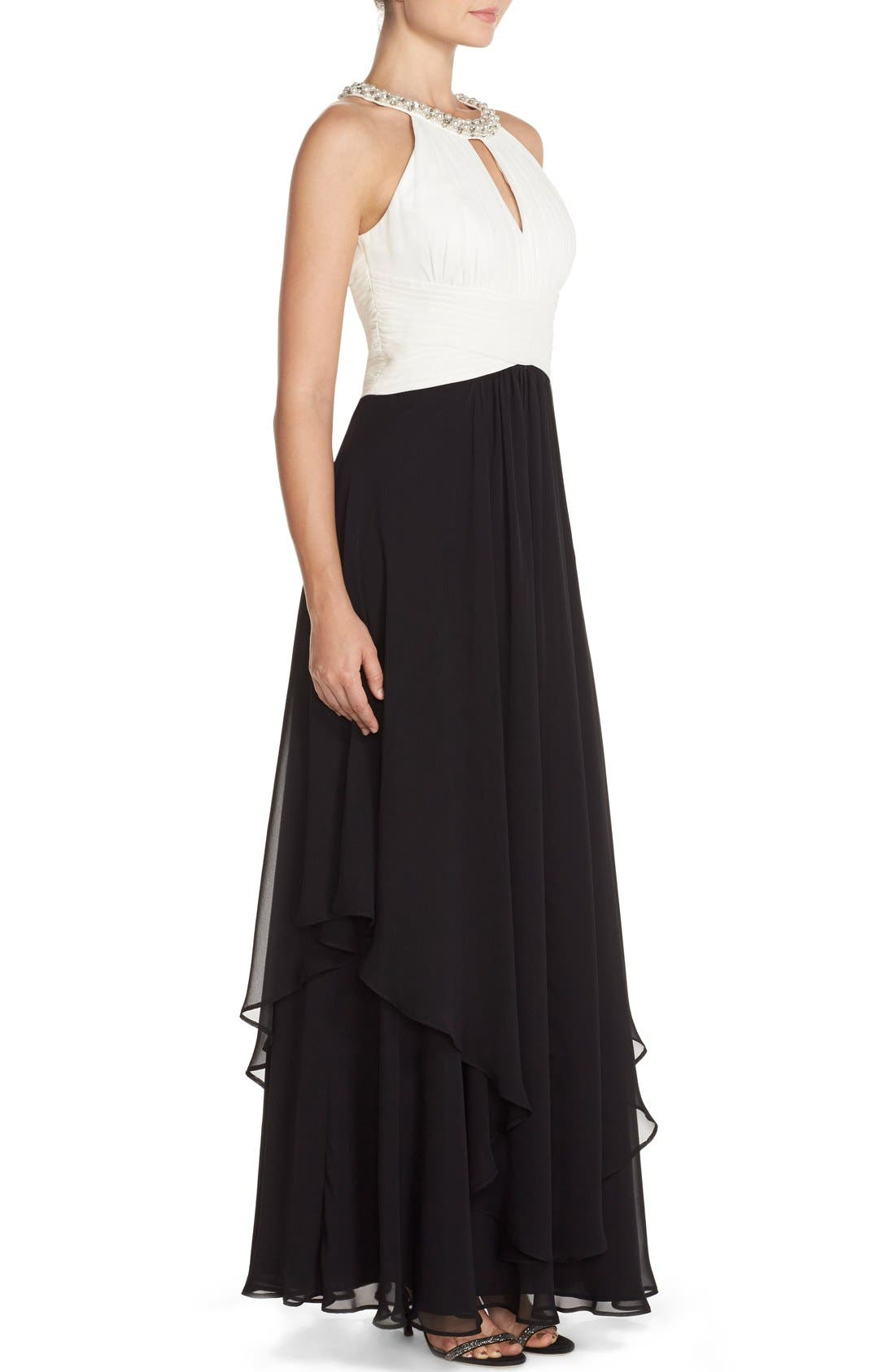 Embellished Colorblock Chiffon Gown,                             Alternate thumbnail 3, color,                             Black/ White