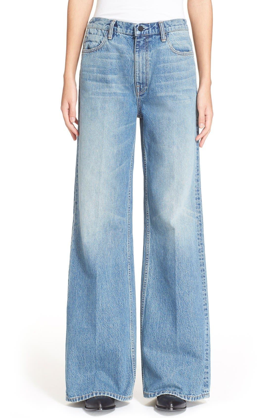 Denim x Alexander Wang Rave Wide Leg Jeans,                         Main,                         color, Light Indigo Aged