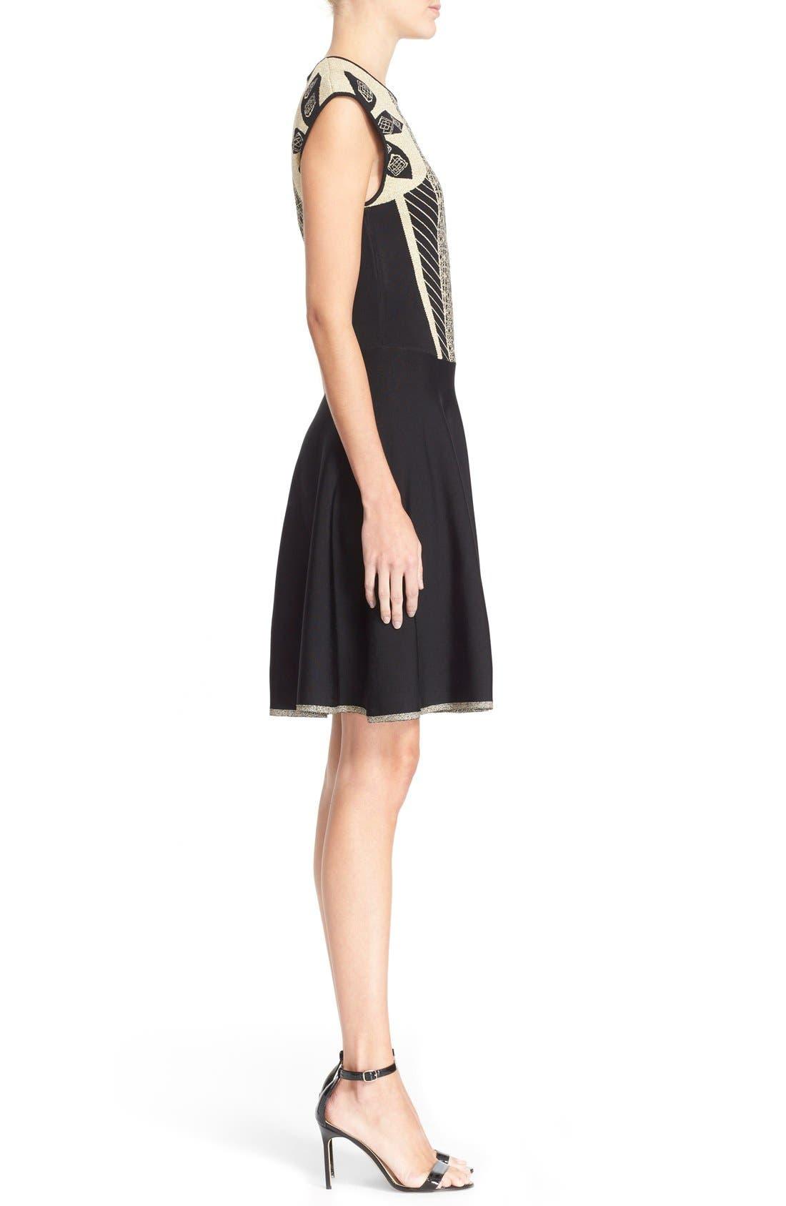Alternate Image 3  - Ted Baker London 'Jenkin' Metallic Jacquard Fit & Flare Dress