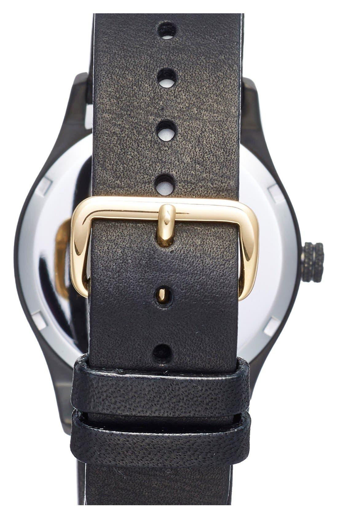 Alternate Image 2  - TRIWA Sort of Black Leather Strap Watch, 38mm