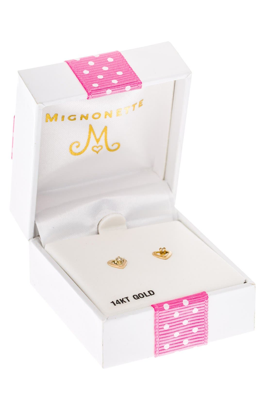 Alternate Image 3  - Mignonette 14k Yellow Gold & Diamond Open Heart Earrings (Baby Girls)