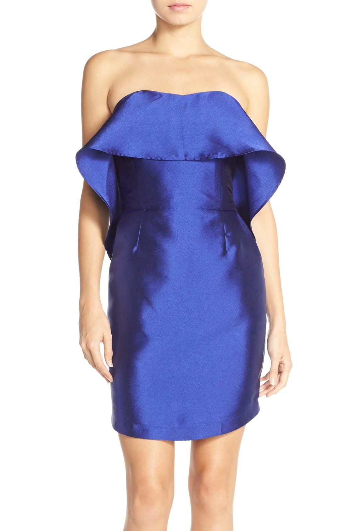 Main Image - Adelyn Rae Ruffled Satin Sheath Dress