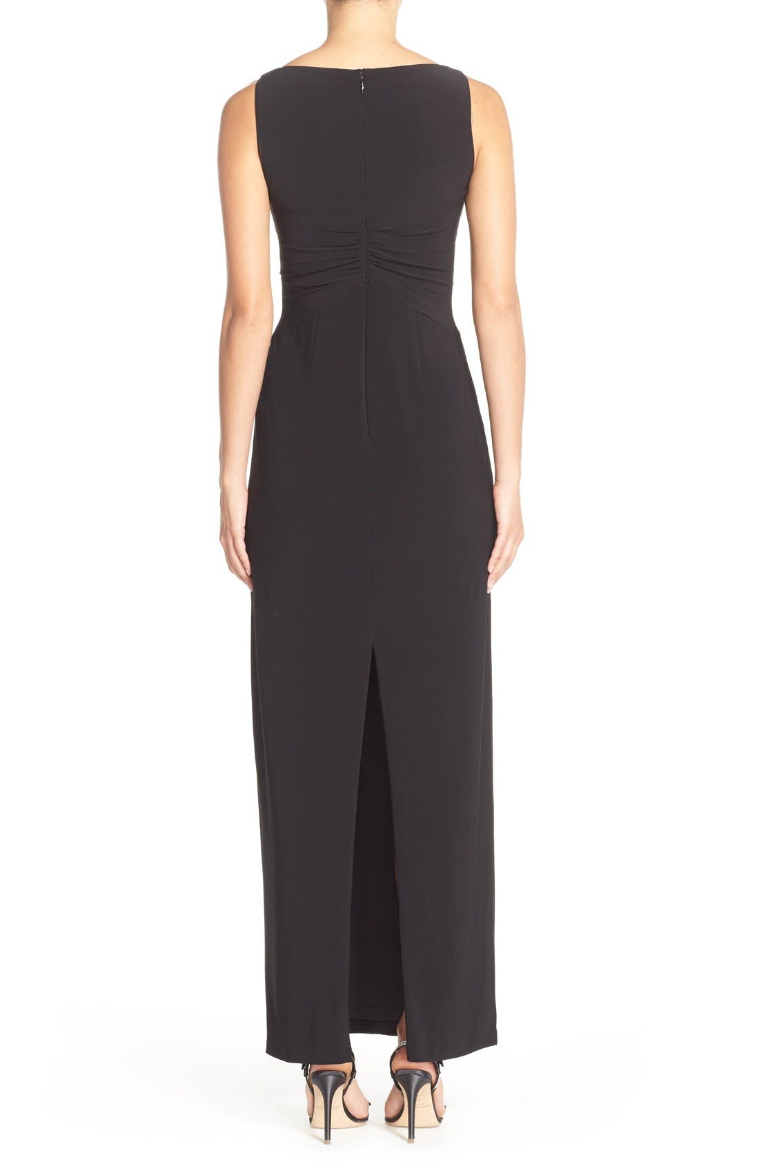 Jersey Fit & Flare Gown,                             Alternate thumbnail 2, color,                             Black
