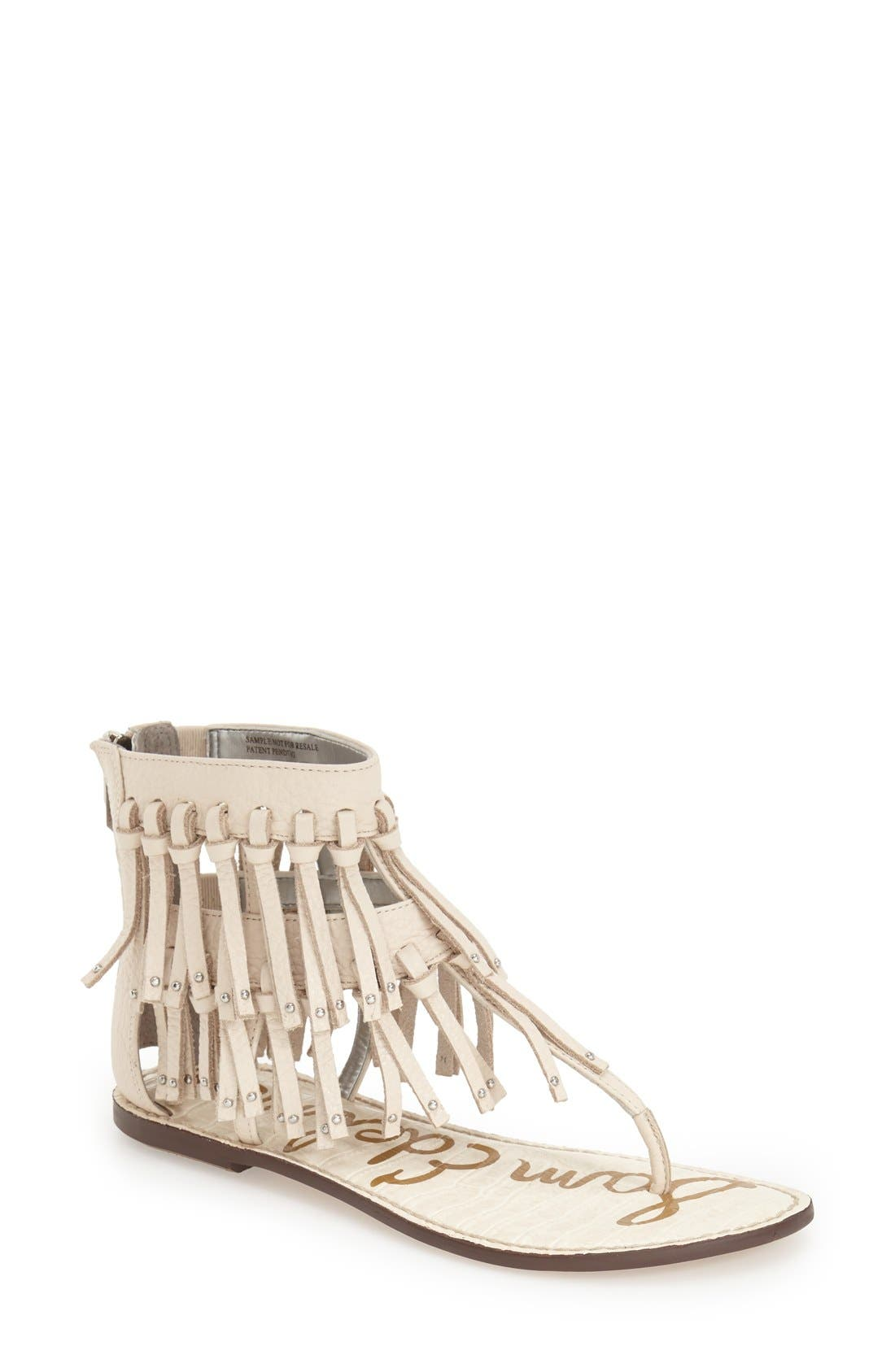 'Griffen' Fringe Sandal,                             Main thumbnail 1, color,                             Modern Ivory Leather