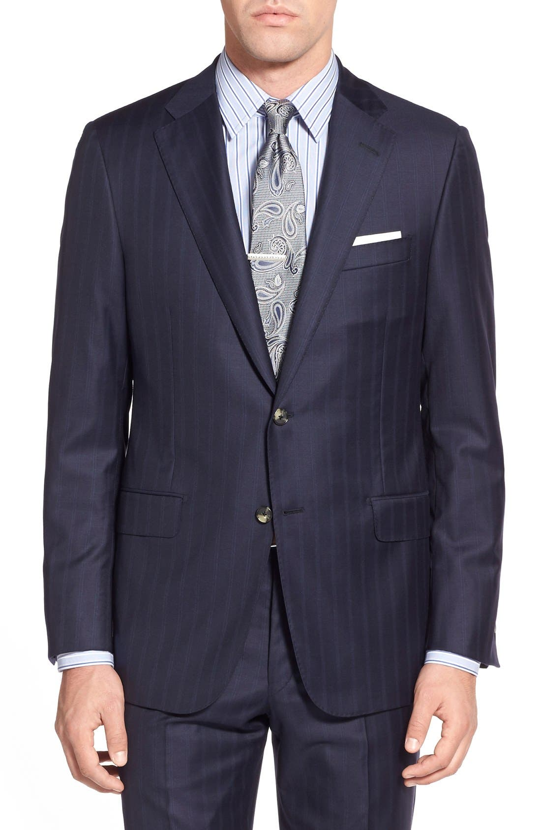 Alternate Image 5  - Hickey Freeman Classic B Fit Stripe Wool Suit