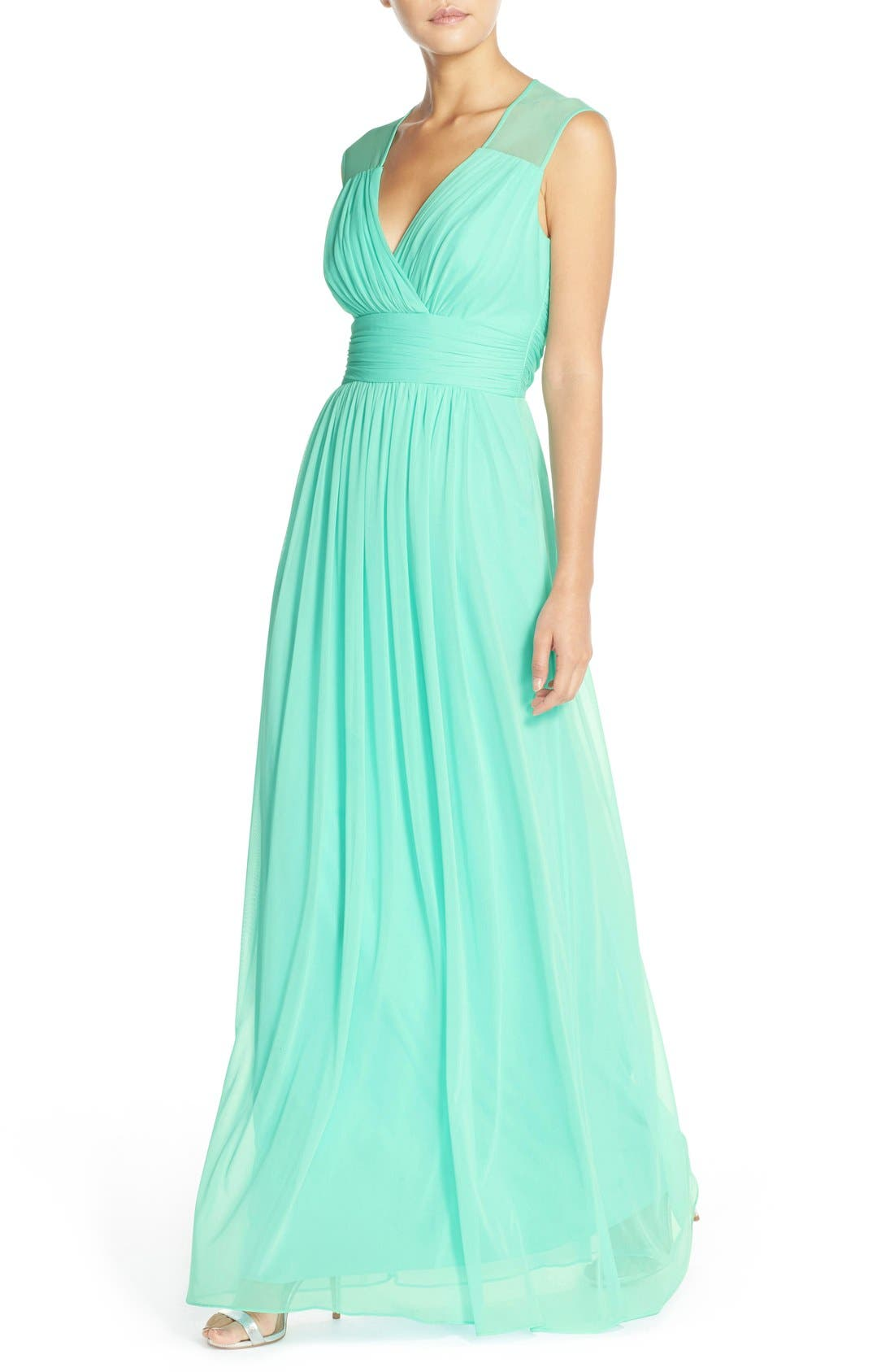 Alternate Image 4  - Alfred Sung Shirred Chiffon Cap Sleeve Gown