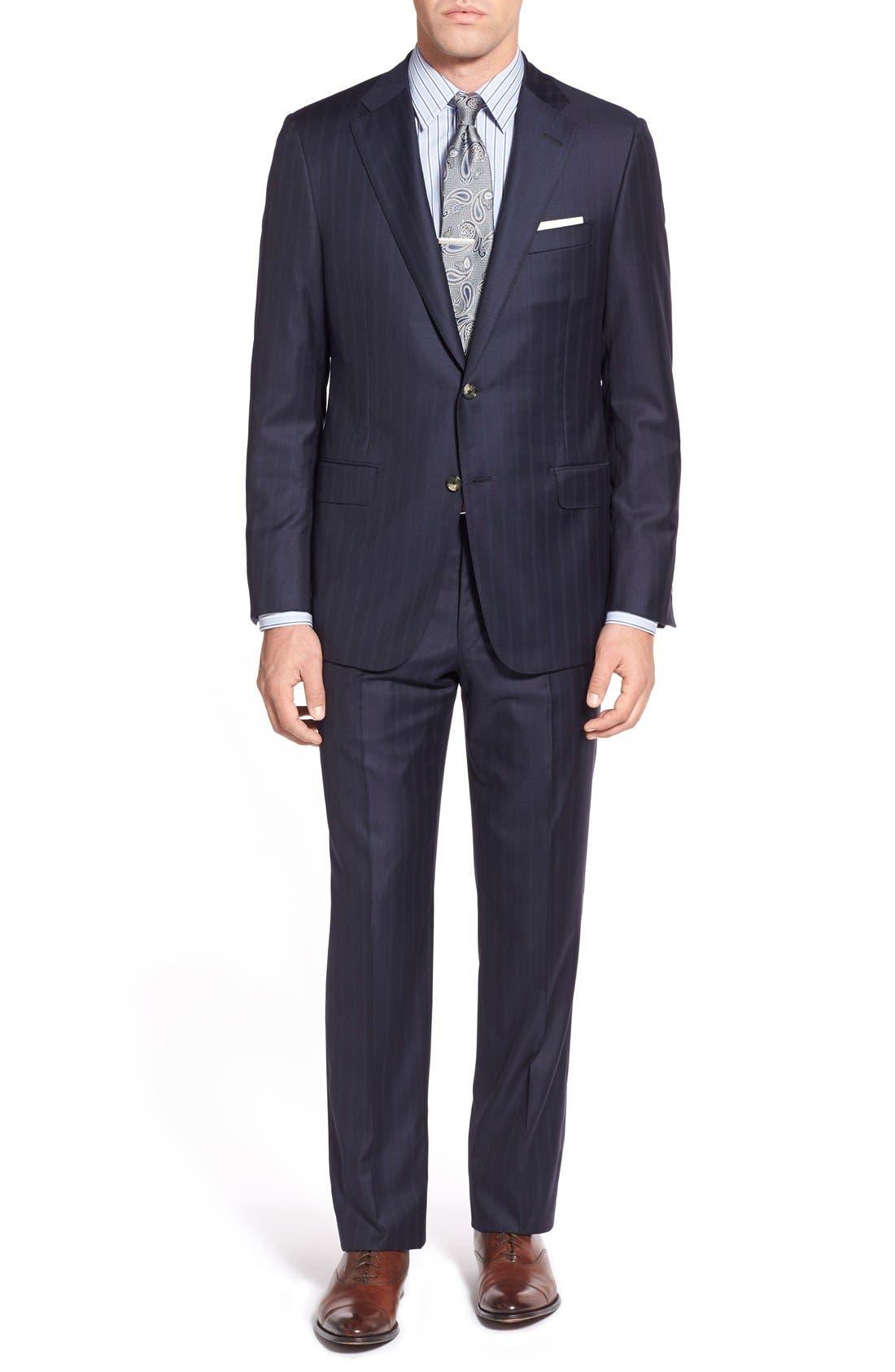 Main Image - Hickey Freeman Classic B Fit Stripe Wool Suit