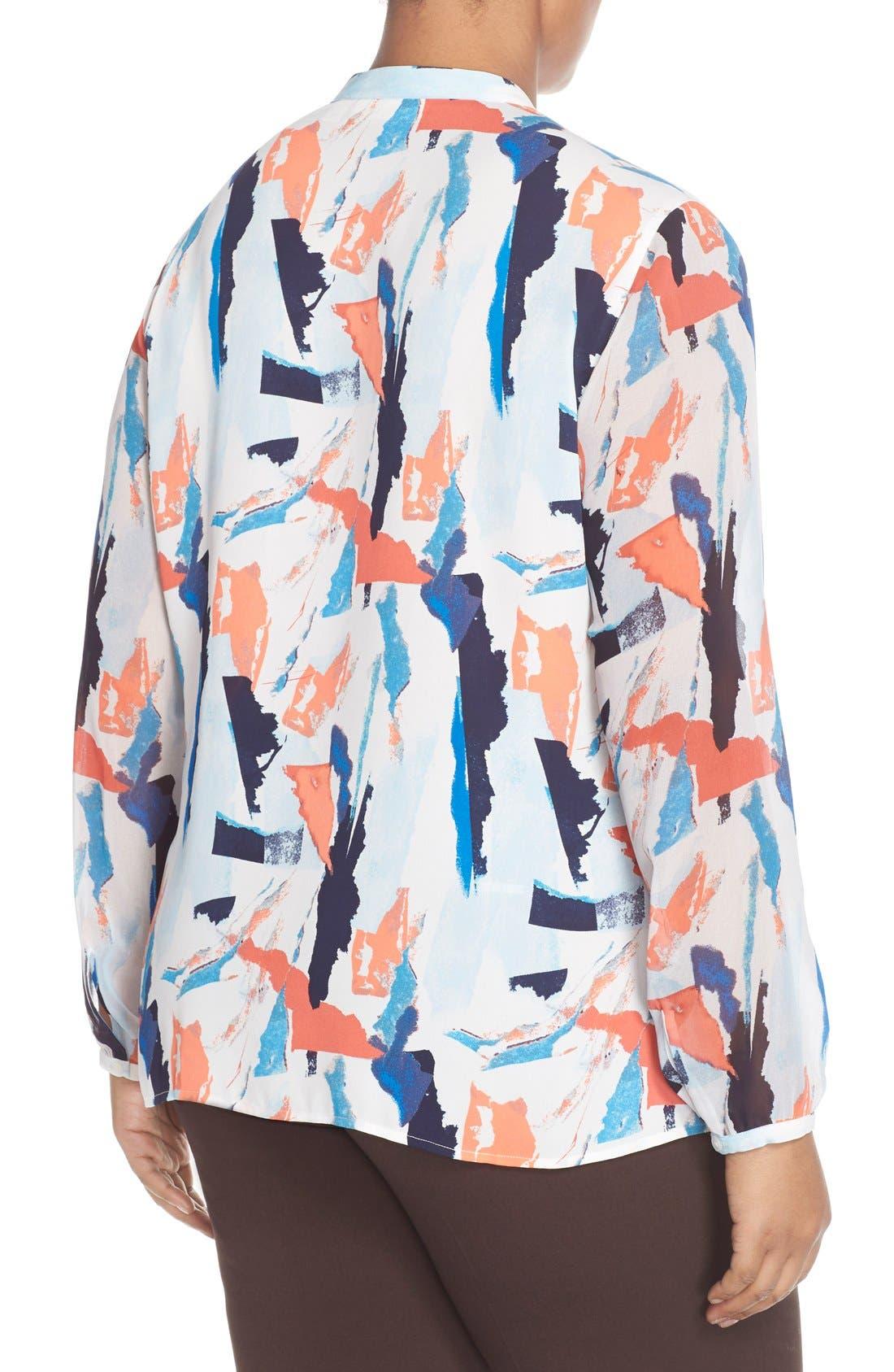 Sheer Sleeve Split Neck Blouse,                             Alternate thumbnail 2, color,                             Blue Abstract Ship Print