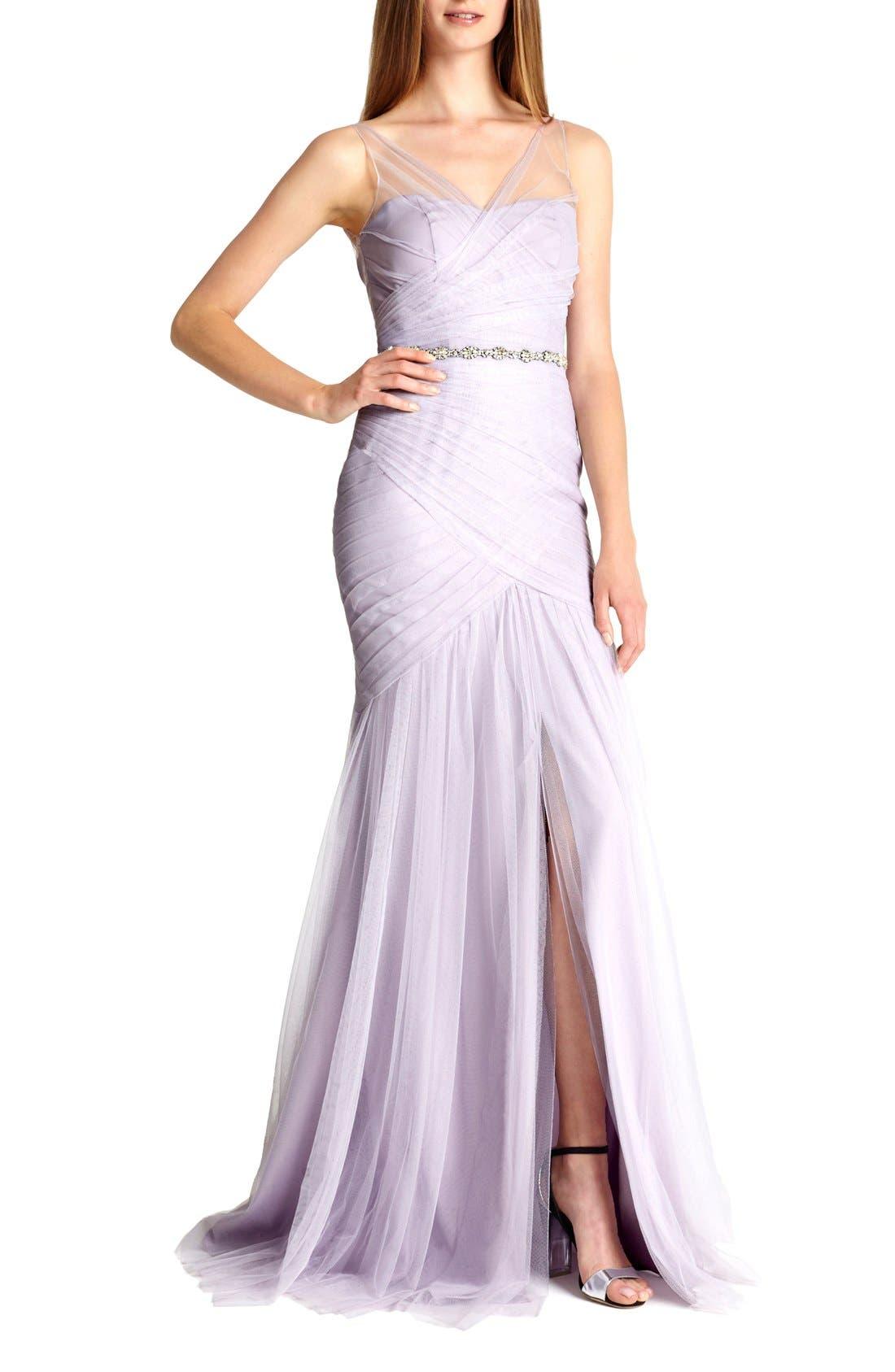Alternate Image 3  - Monique Lhuillier Bridesmaids Illusion Yoke Pleat Tulle Trumpet Gown