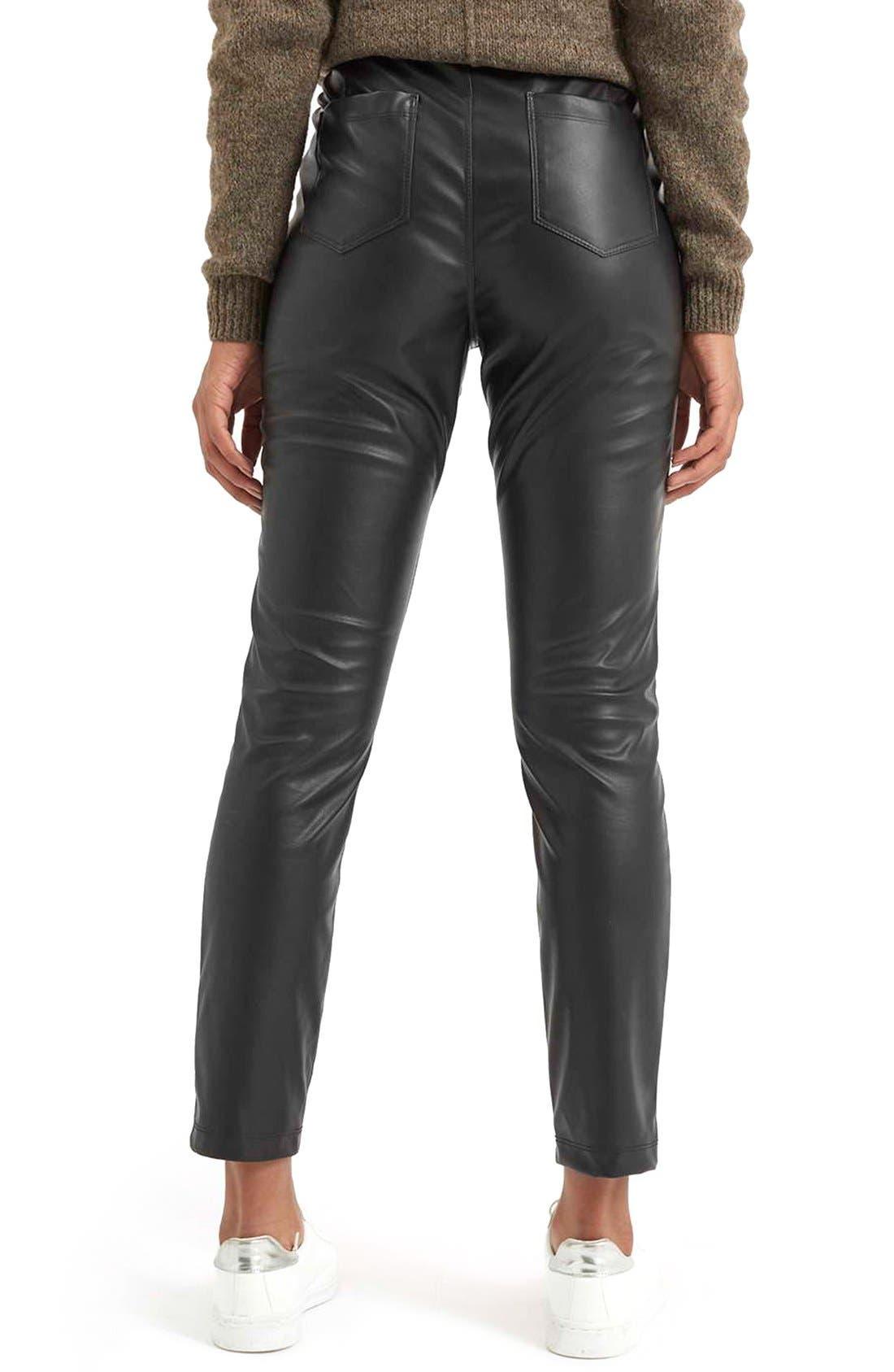 Faux Leather Crop Trousers,                             Alternate thumbnail 5, color,                             Black
