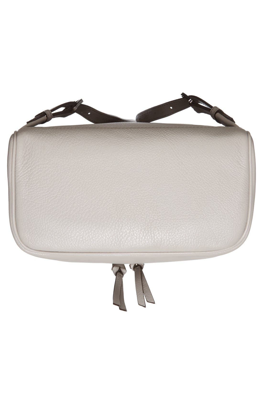 'Small Rhea Zip' Leather Backpack,                             Alternate thumbnail 6, color,                             Pearl Grey/ Silver
