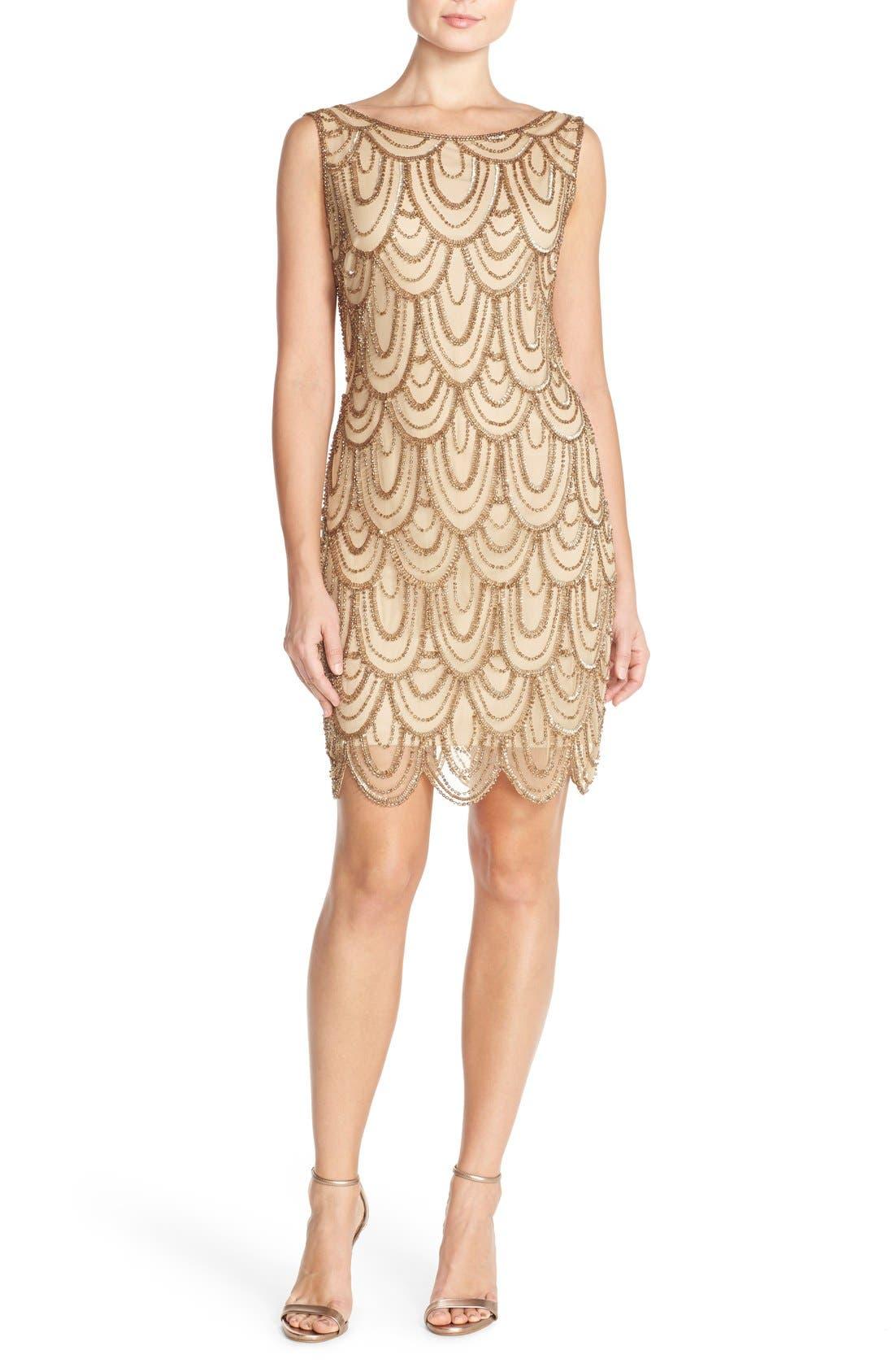 Embellished Mesh Sheath Dress,                         Main,                         color, Gold