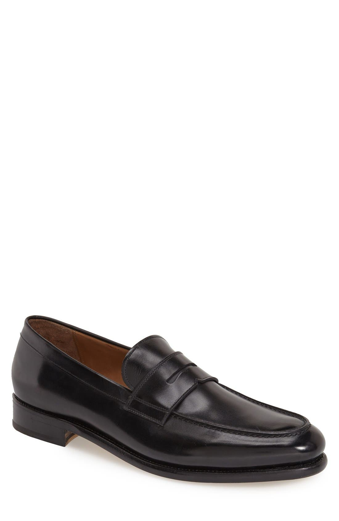 'Rinaldo' Penny Loafer,                             Main thumbnail 1, color,                             Nero Leather