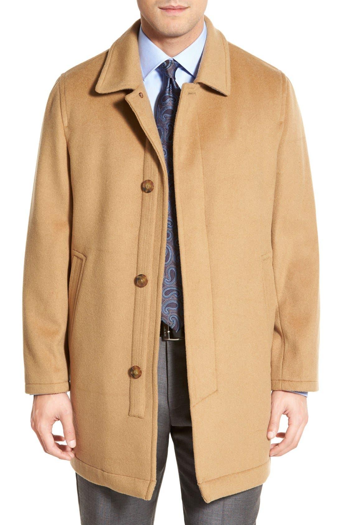Douglas Modern Fit Wool & Cashmere Overcoat,                             Main thumbnail 1, color,                             Camel