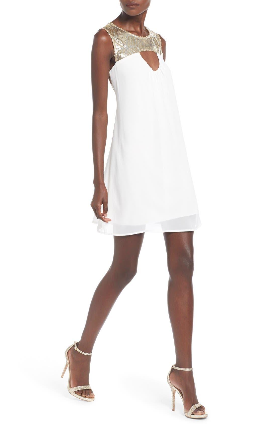 Alternate Image 4  - Sequin Hearts Sequin Yoke Cutout Shift Dress