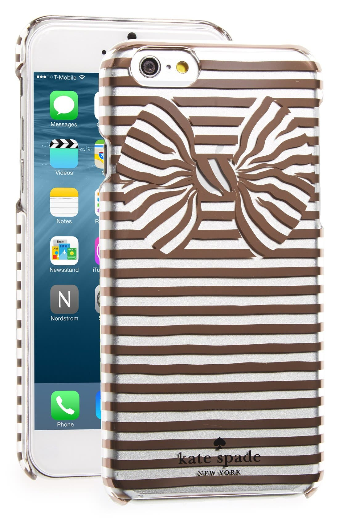 Alternate Image 1 Selected - kate spade new york 'bow stripe' iPhone 6 & 6s case